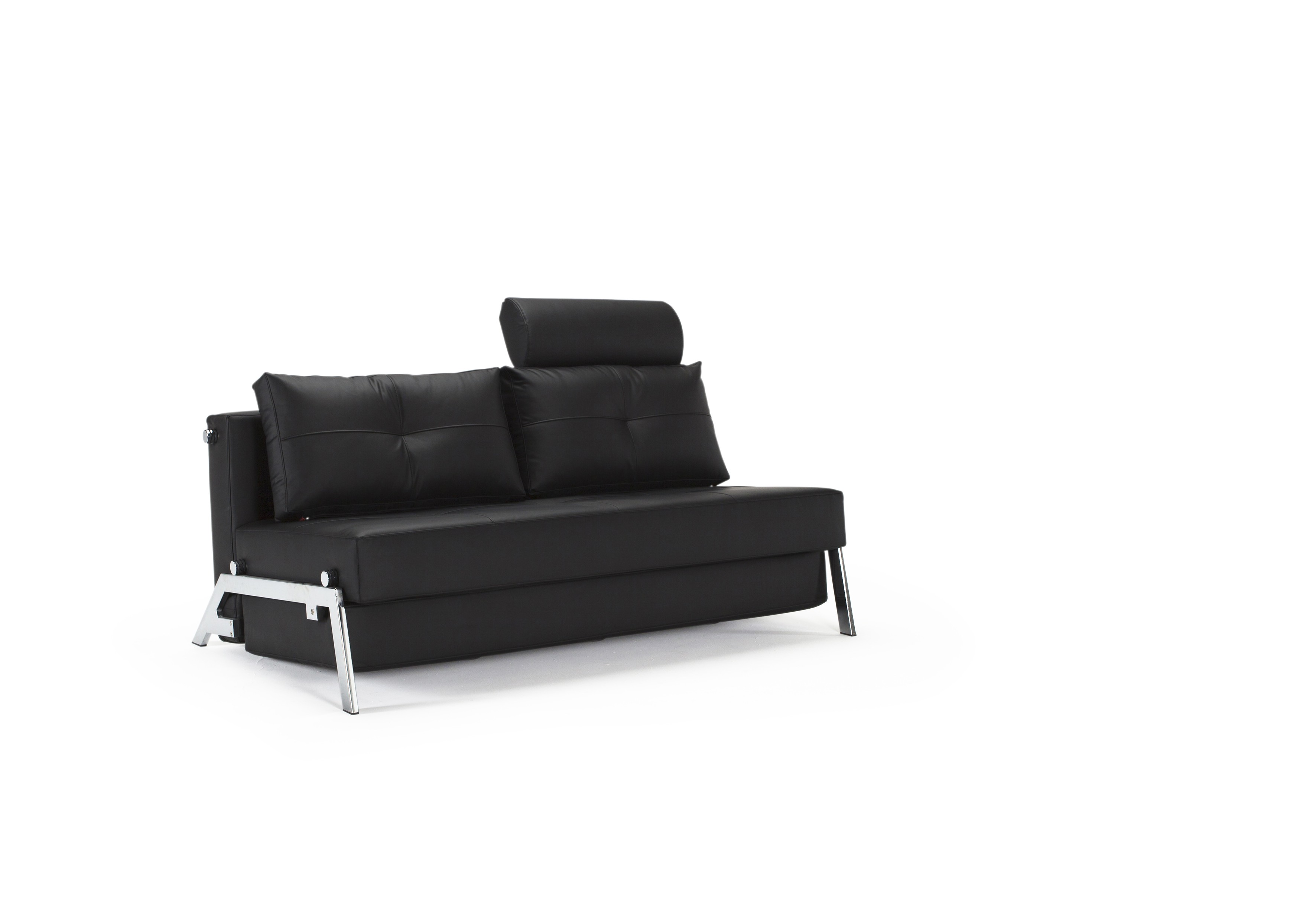 Cubed Deluxe Sofa Bed Queen Size Black Leather Textile By