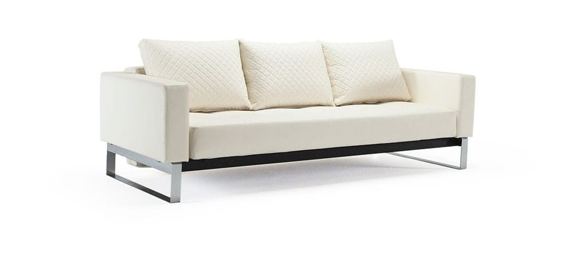 Cassius Quilt Sofa Bed Full Size White Leather Textile By Innovation