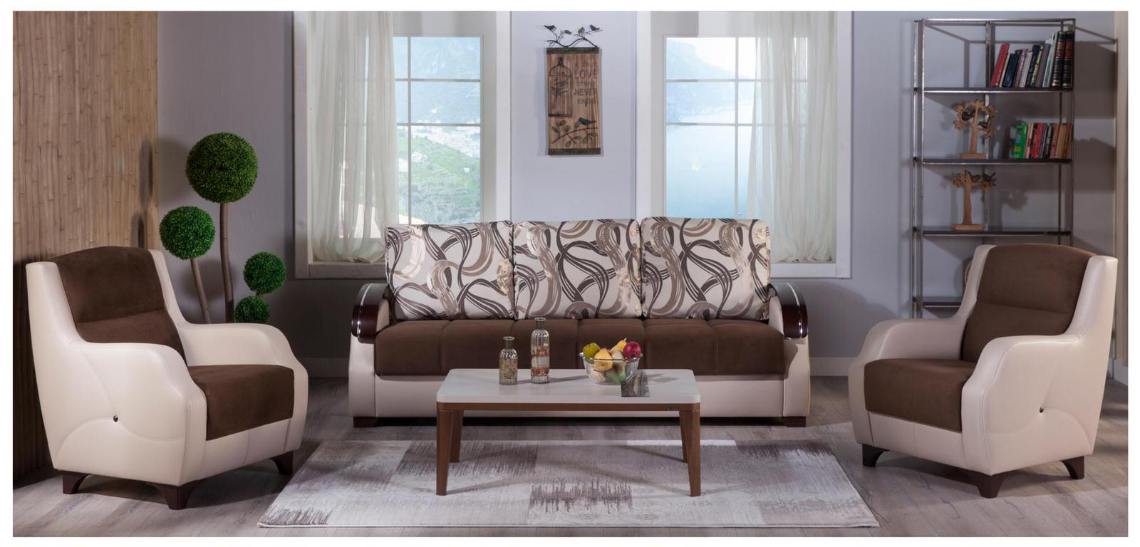 Costa Best Brown Sofa 2 Chairs Set By Istikbal Sunset