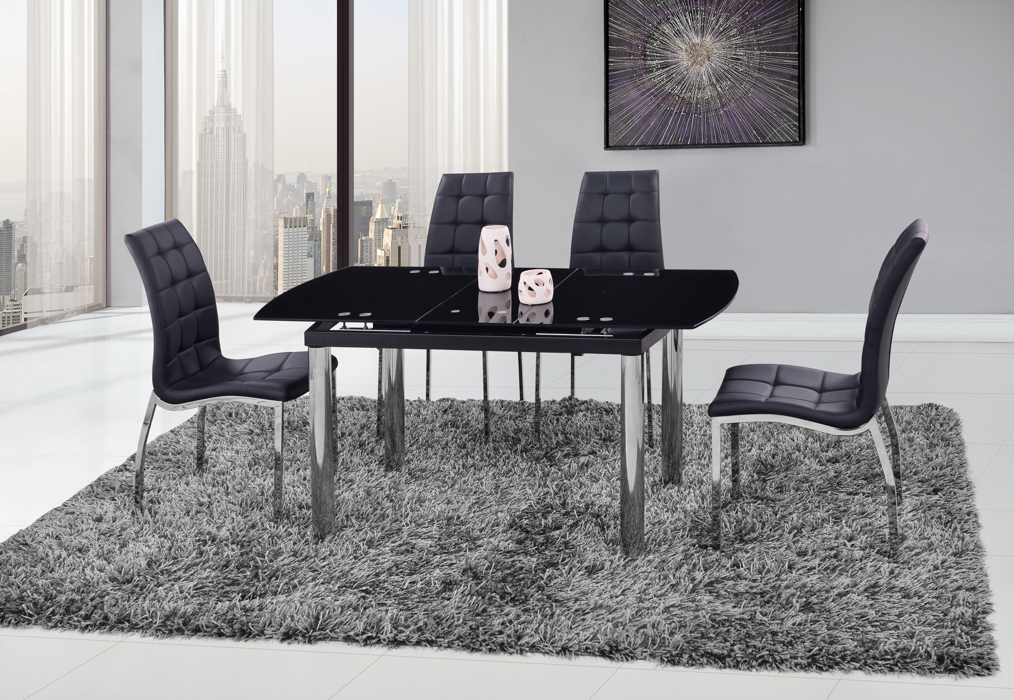 Dining Table D30DT Chrome/Black Glass Top by Global Furniture