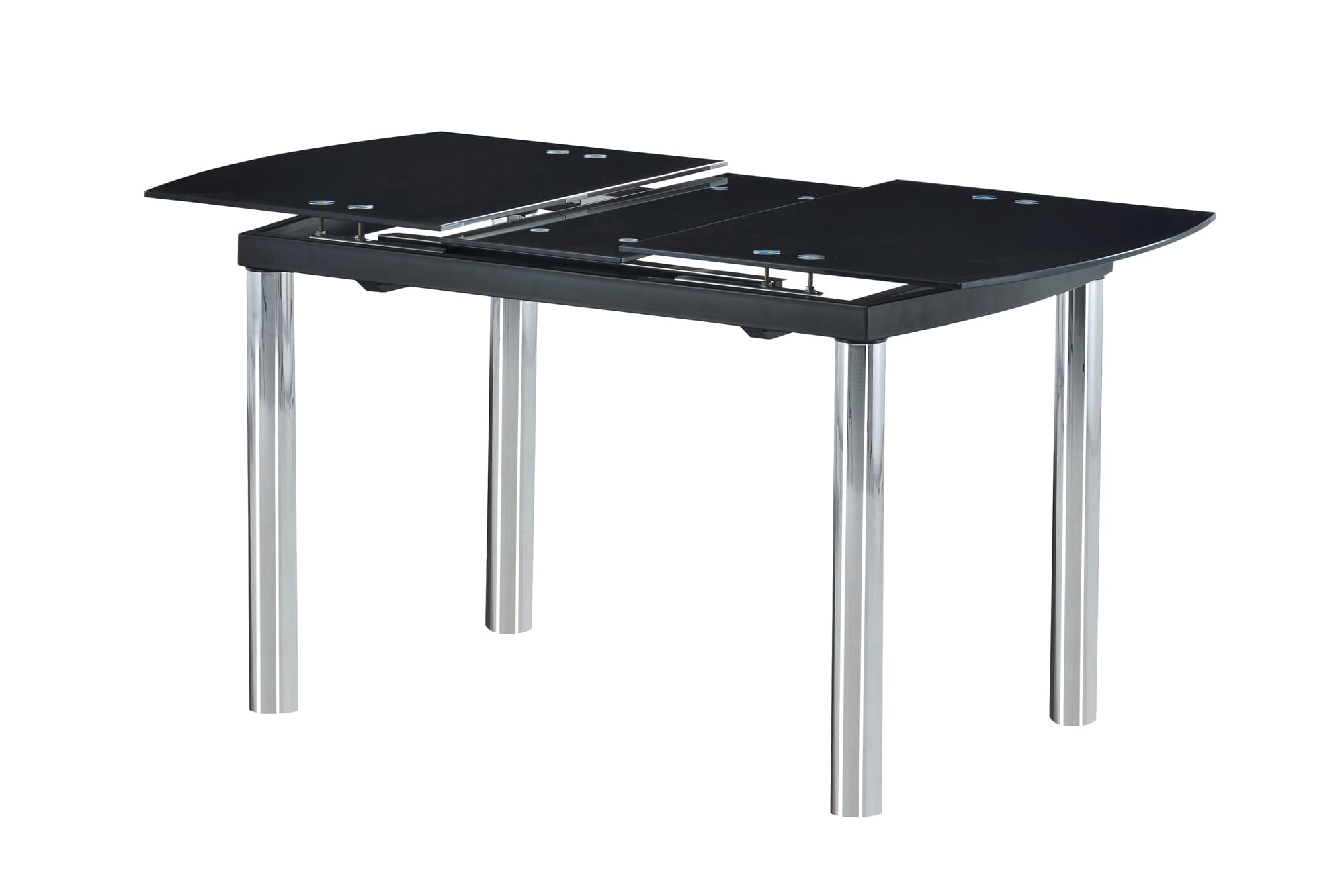 Dining Table D30DT Chrome Black Glass Top by Global Furniture