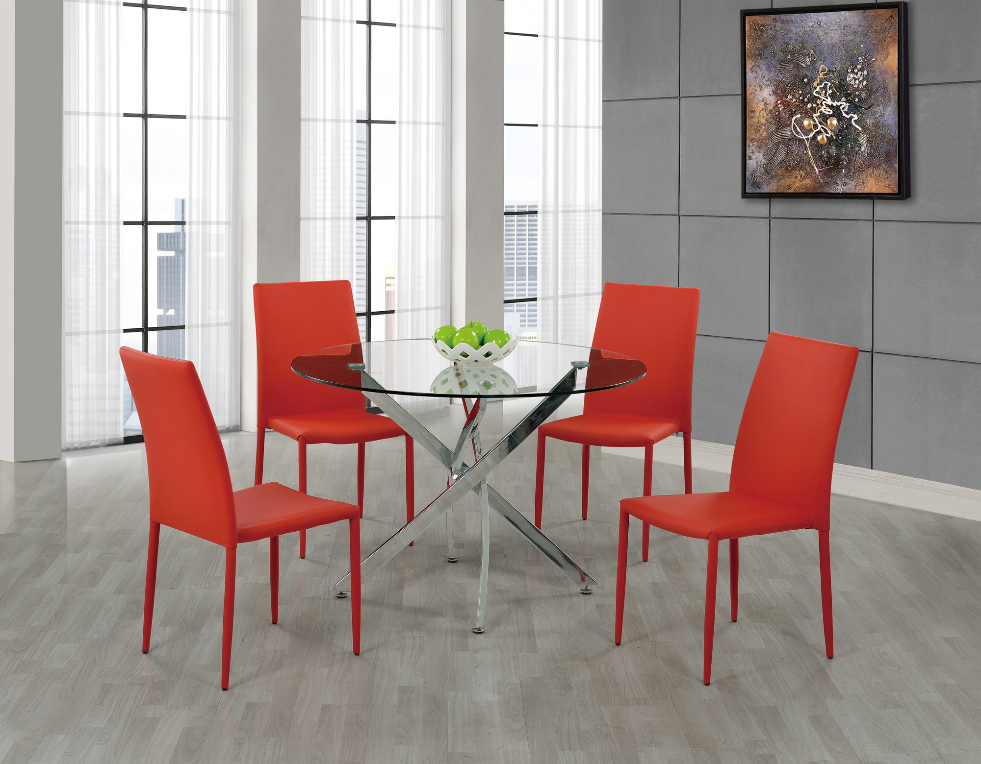 Dining Table D497DT ChromeBlack PU by Global Furniture