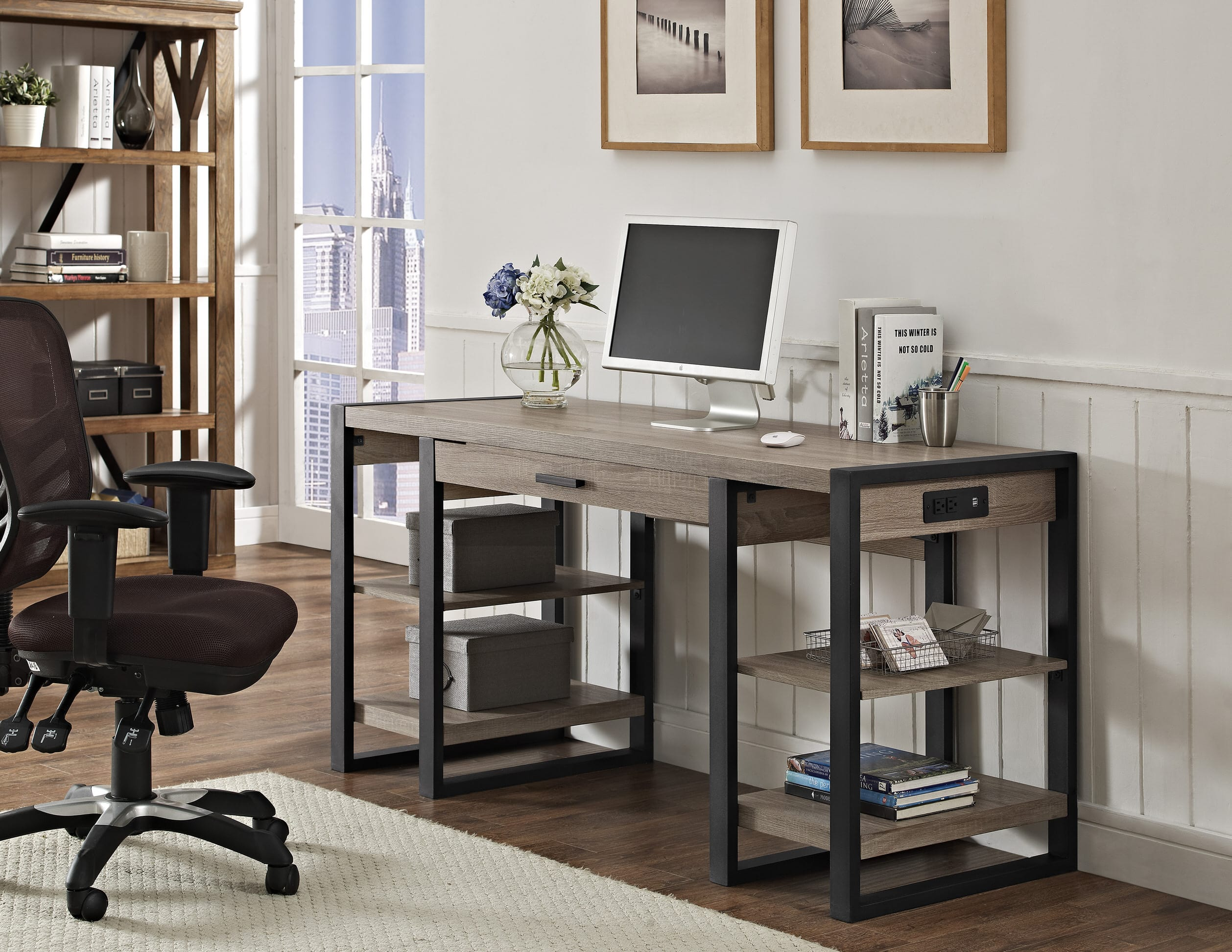 Urban blend 60 inch computer storage desk driftwood black by walker edison walker