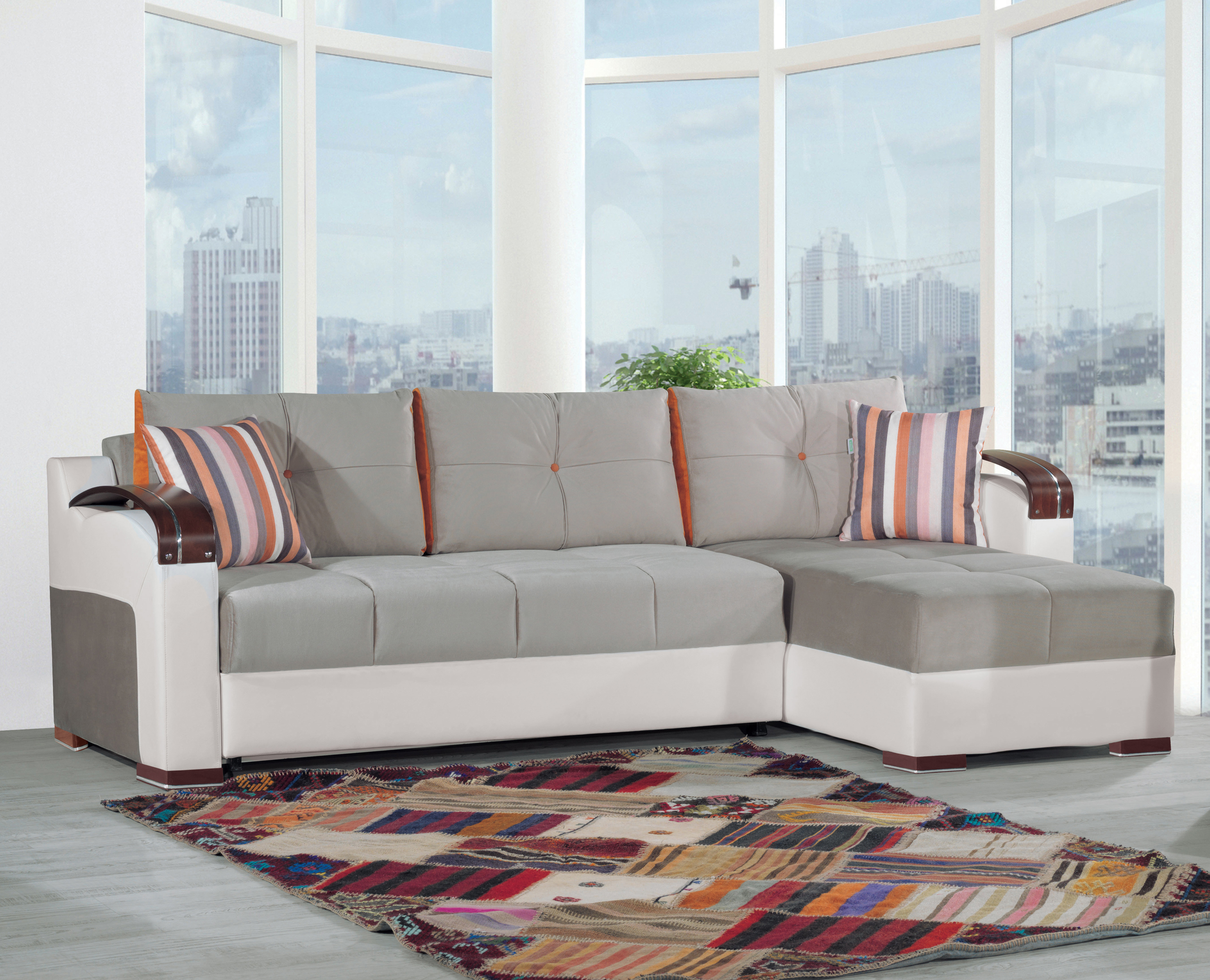 Divan Deluxe Golf Gray Convertible Sectional By Casamode - Divans convertibles