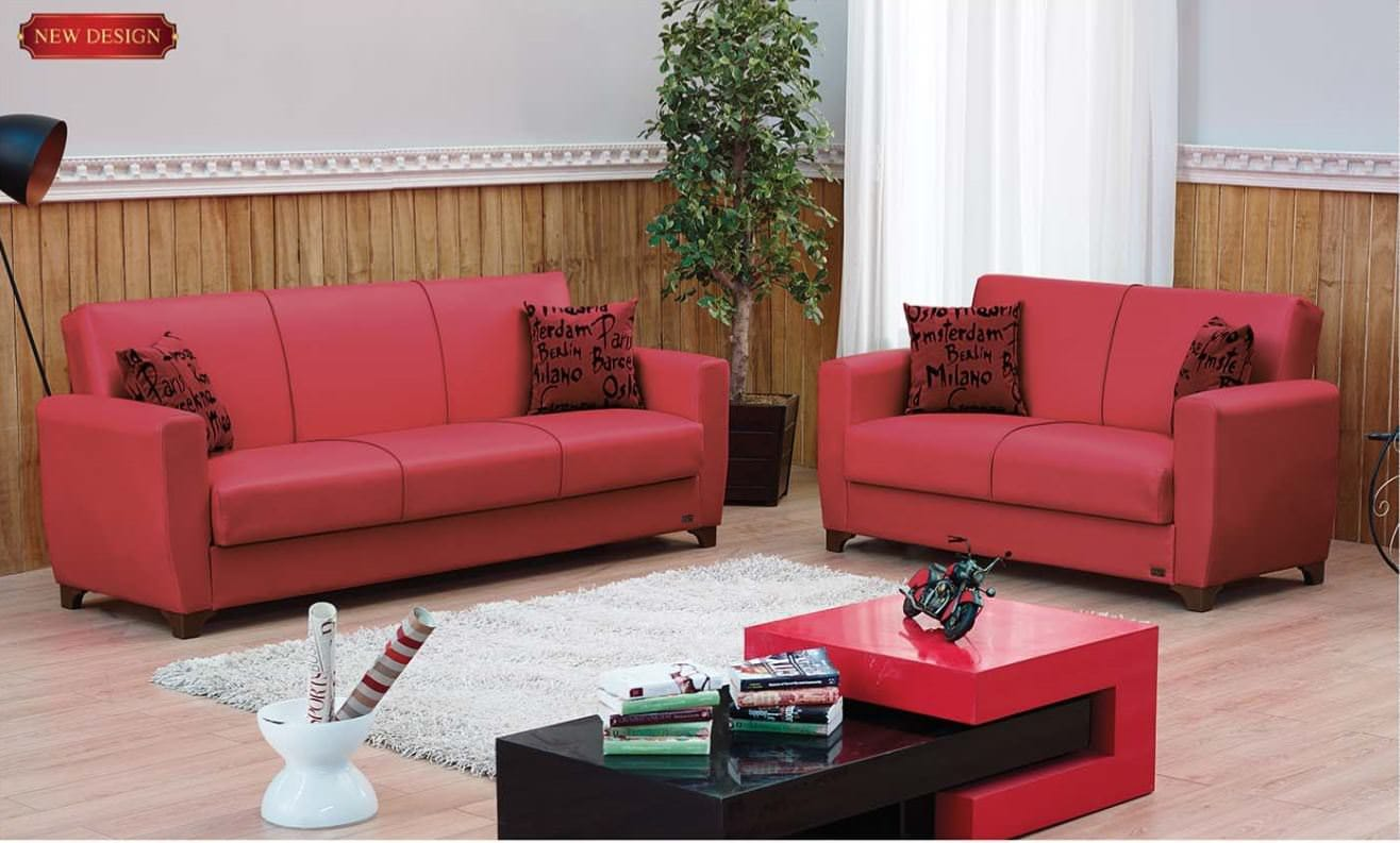 Dallas Red Leather Loveseat by Empire Furniture USA