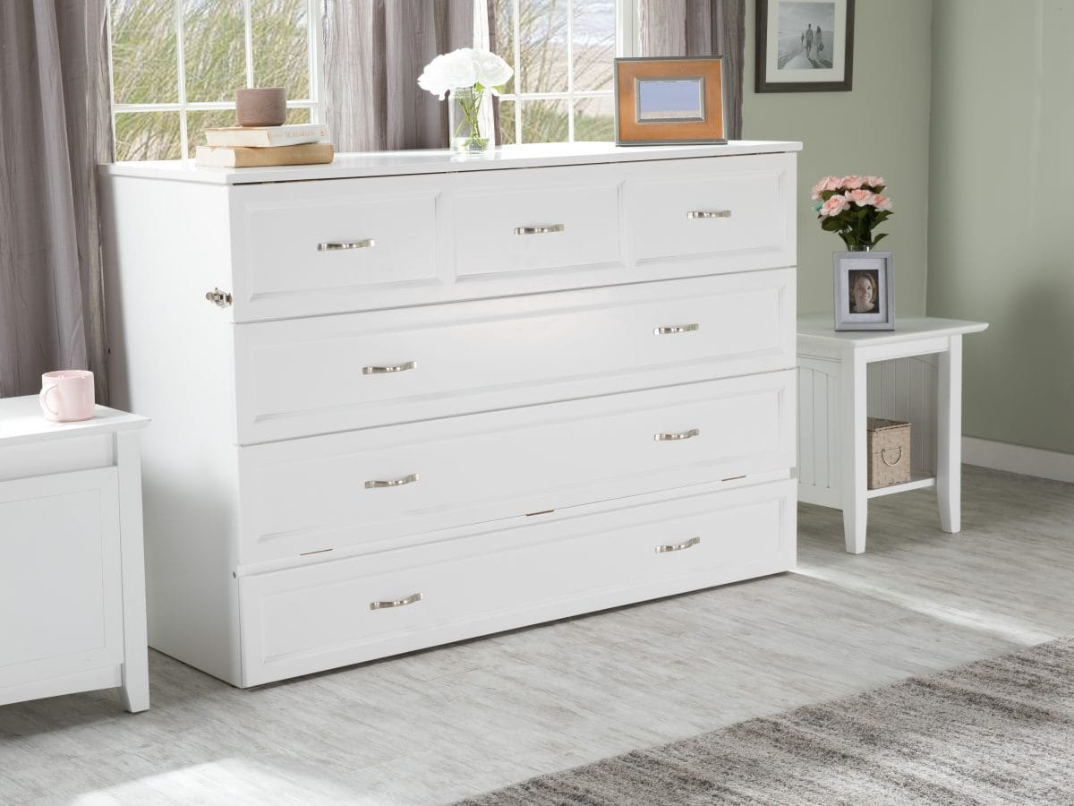Deerfield Murphy Bed Chest Bed White By Atlantic