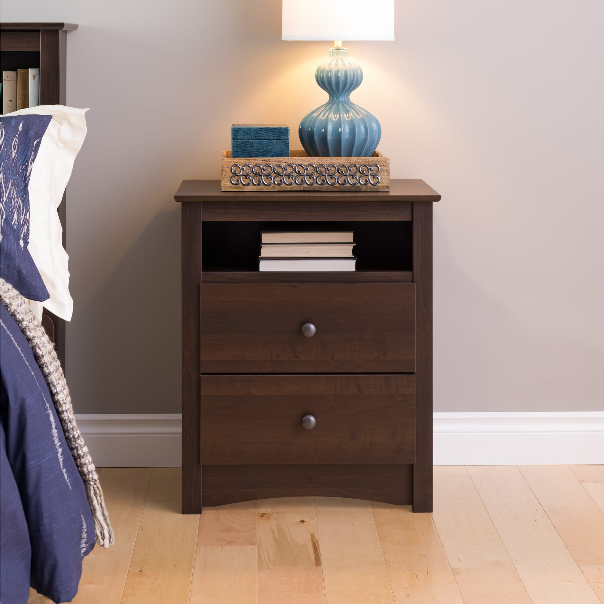 51a299fb4aa Fremont 2 Drawer Tall Nightstand with Open Cubbie by Prepac (Prepac  Manufacturing). Loading zoom.