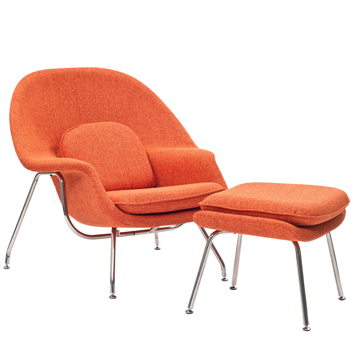 W Upholstered Fabric Lounge Chair With Ottoman Orange Tweed By Modway