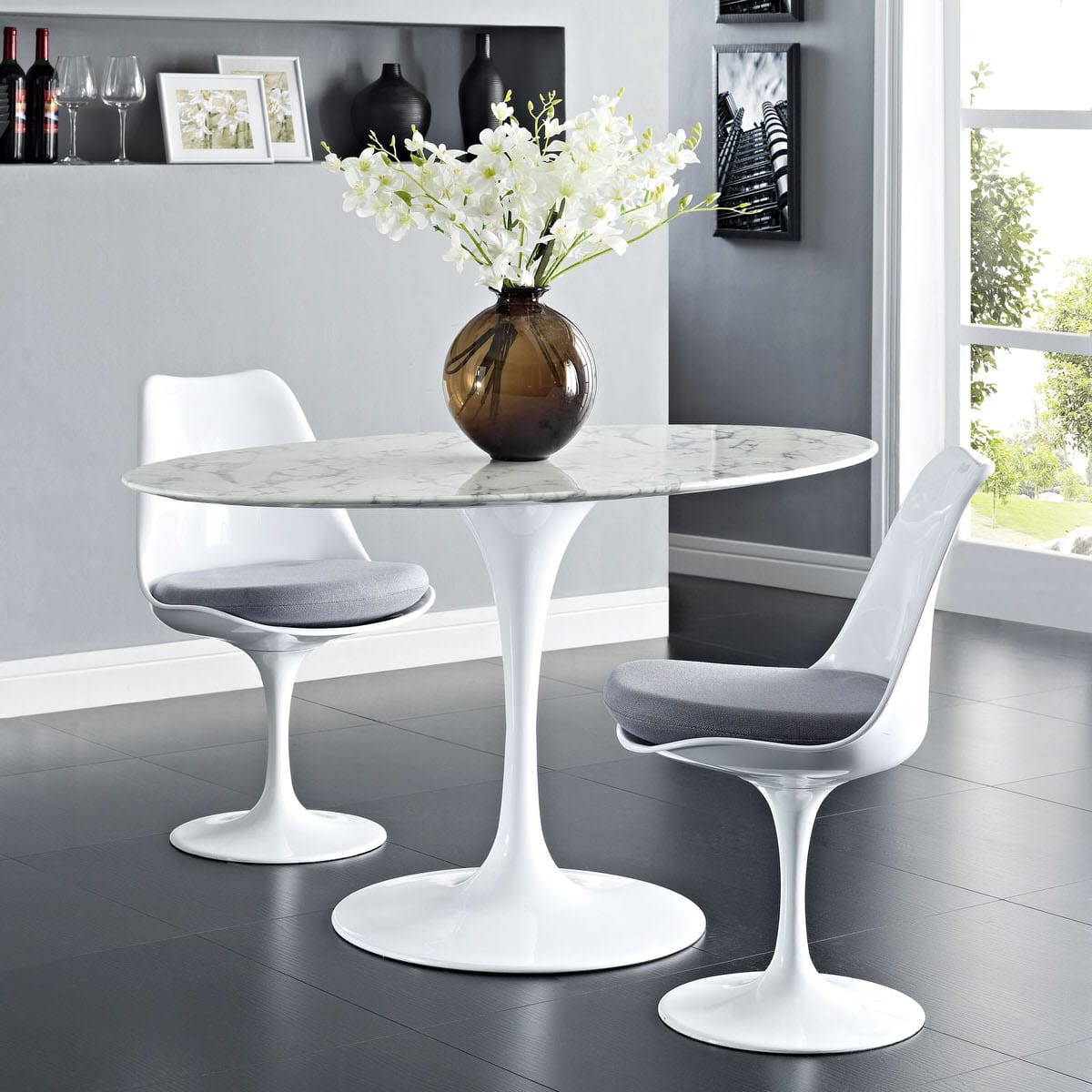 Lippa 54 Inch Oval Artificial Marble Dining Table White By Modern Living