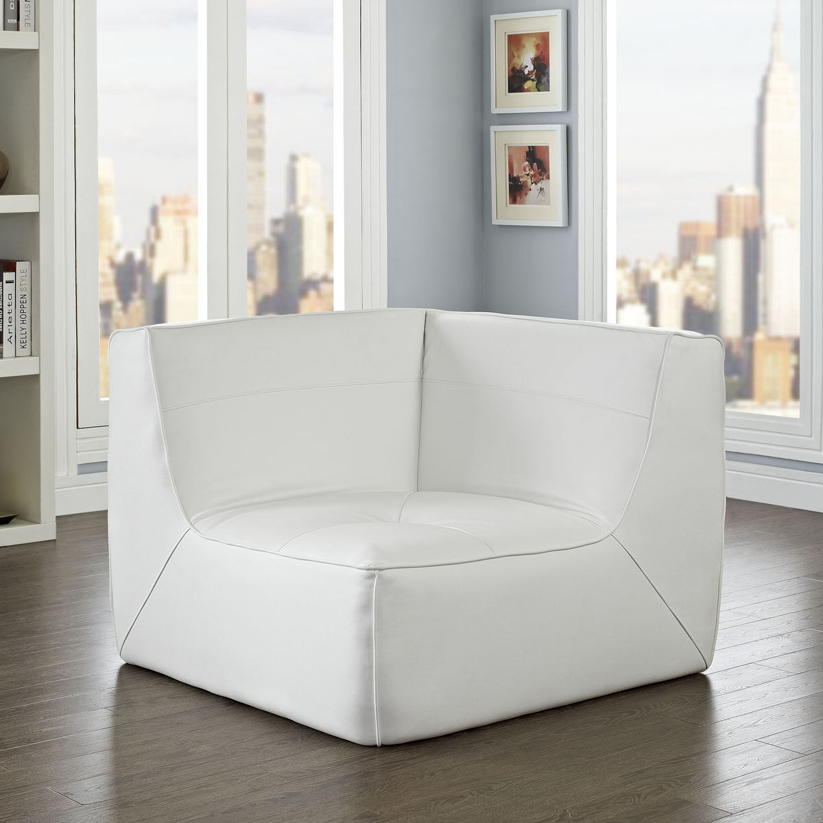 Sensational Align Bonded Leather Corner Sofa White By Modway Beatyapartments Chair Design Images Beatyapartmentscom