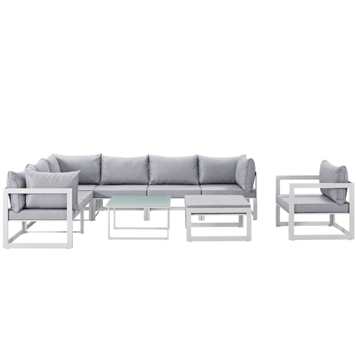 Fortuna 9 Piece Outdoor Patio Sectional Sofa Set White Gray By Modern Living