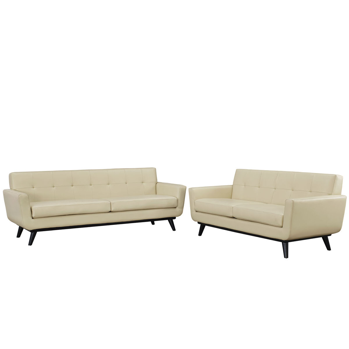 Engage 2 Piece Leather Living Room Set Beige by Modern Living