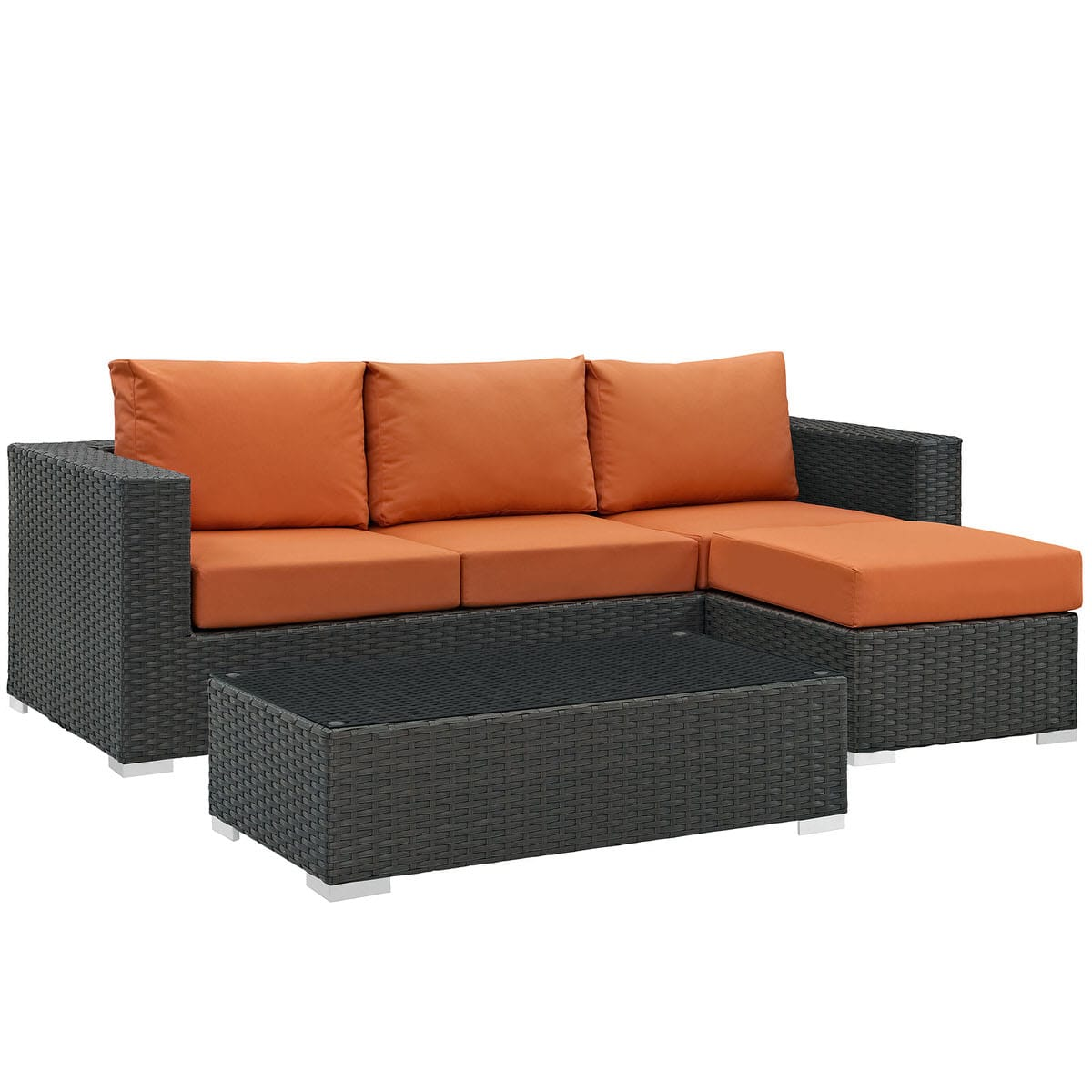Sojourn 3 Piece Outdoor Patio Sunbrella Sectional Set Canvas Tuscan By  Modway (Modway)