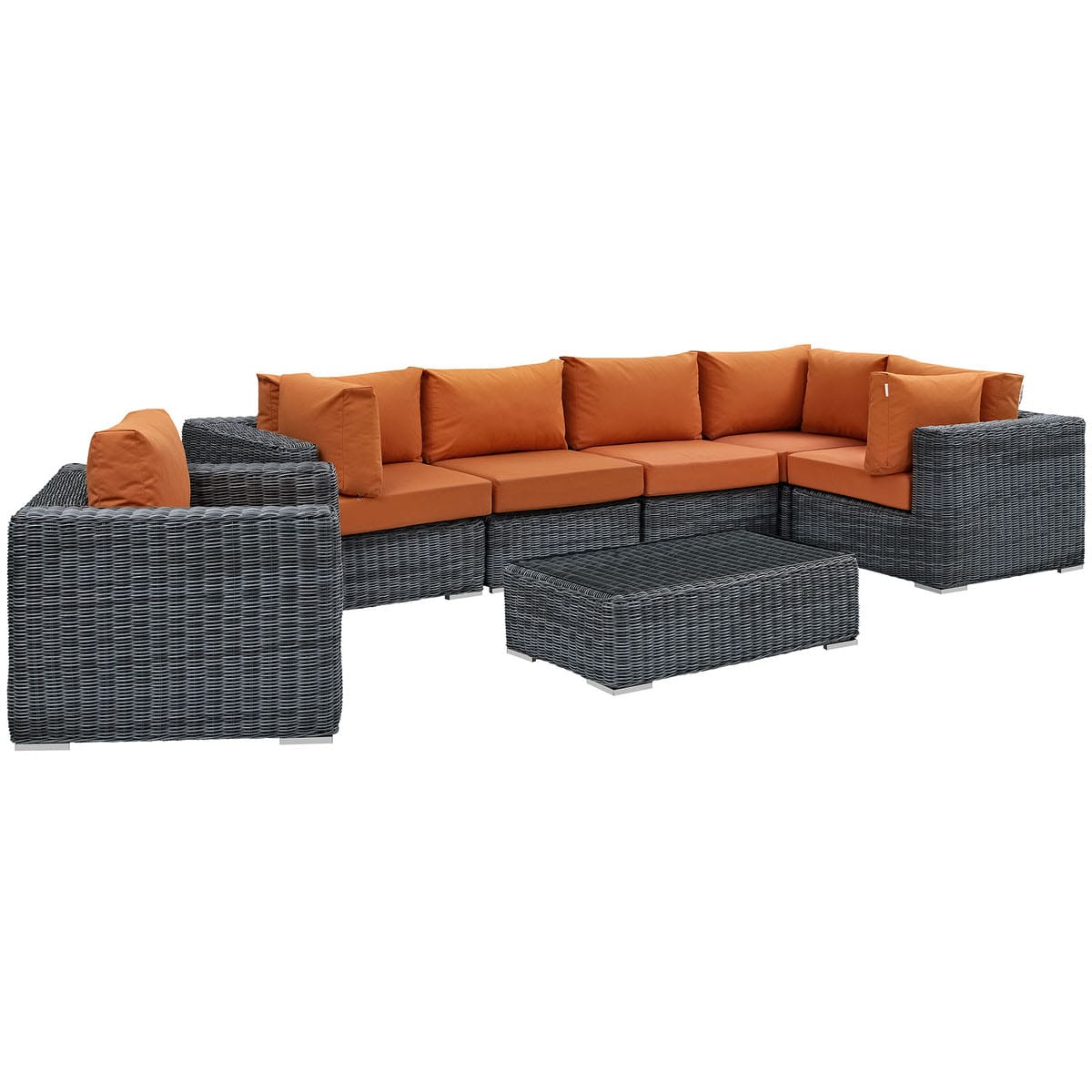 Superbe Summon 7 Piece Outdoor Patio Sunbrella Sectional Set Canvas Tuscan By  Modern Living (Modern Living