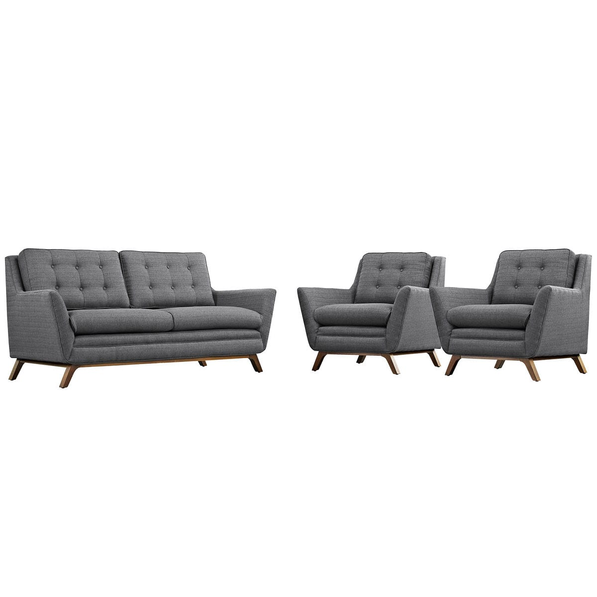 Beguile 3 Piece Upholstered Fabric Living Room Set Gray by Modern Living