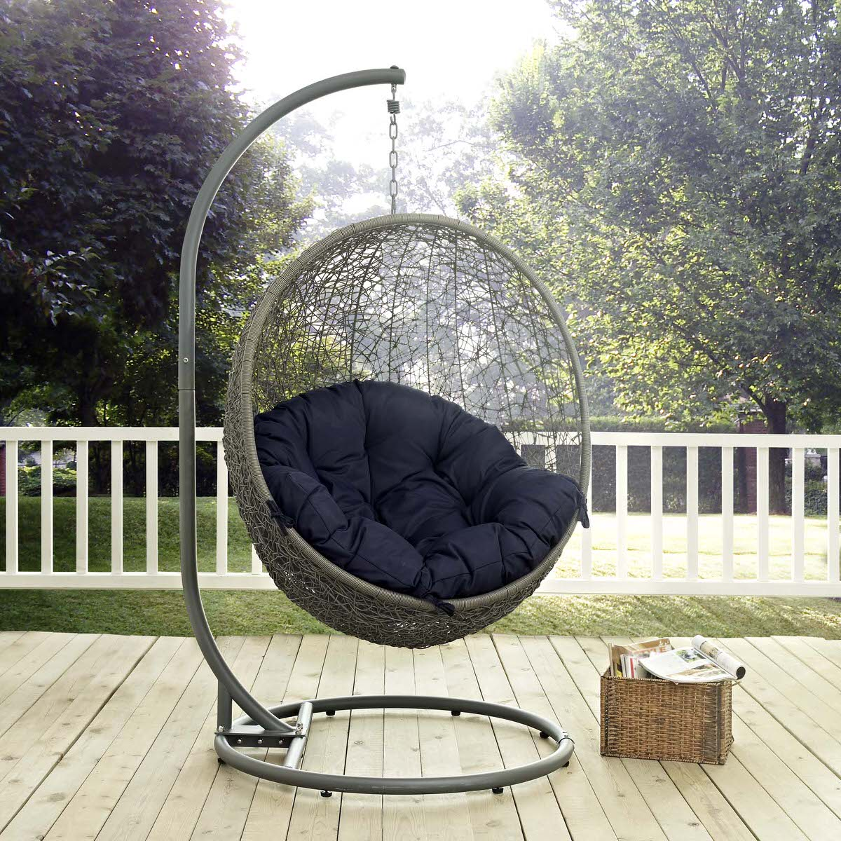 Hide Outdoor Patio Swing Chair With Stand Gray Navy By Modern Living