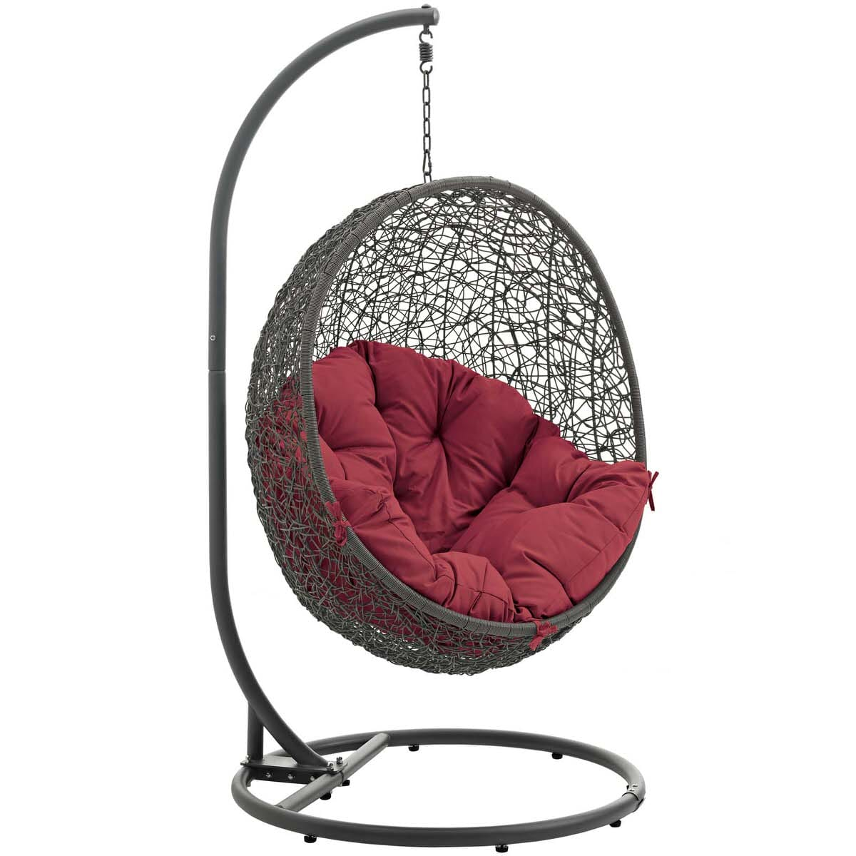 Hide Outdoor Patio Swing Chair With Stand Gray Red By Modern Living (Modern  Living)
