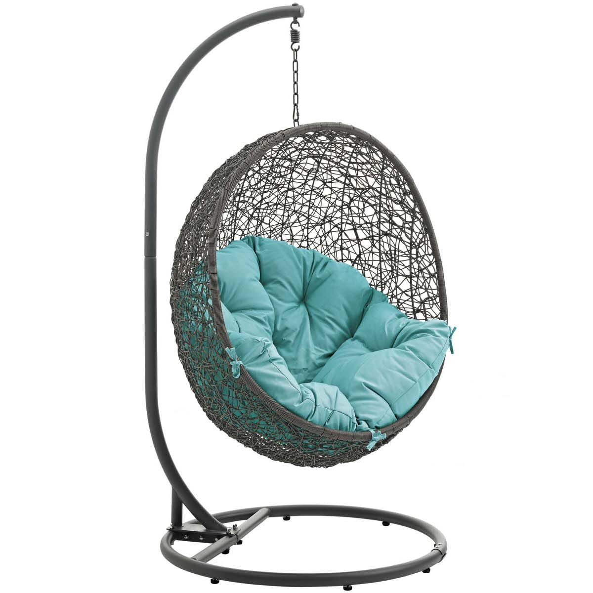 Hide Outdoor Patio Swing Chair With Stand Gray Turquoise By Modern Living ( Modern Living)