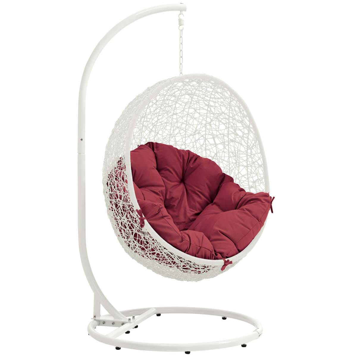 Hide Outdoor Patio Swing Chair With Stand White Red By Modern Living  (Modern Living)