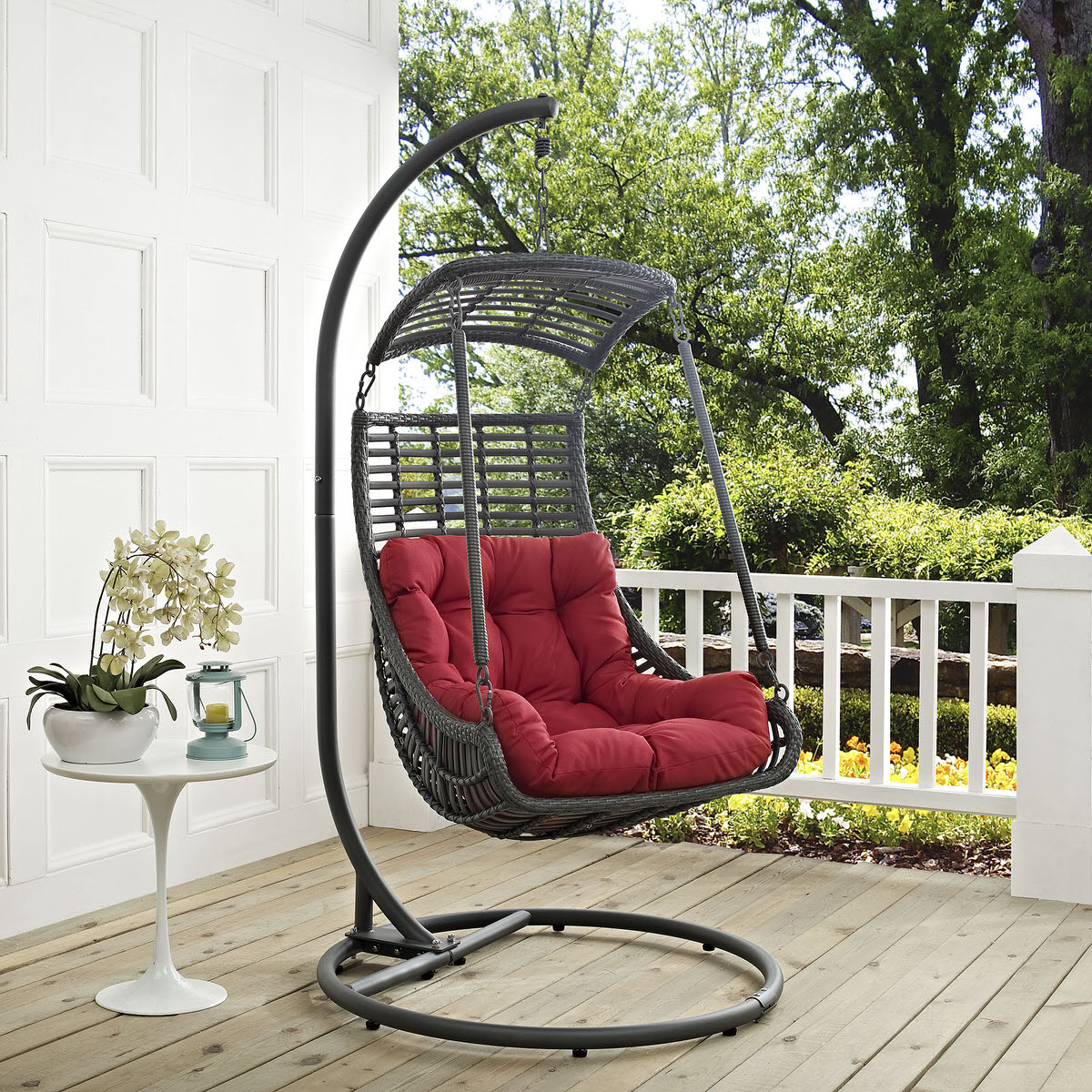 Jungle Outdoor Patio Swing Chair With Stand Red By Modern Living (Modern  Living)