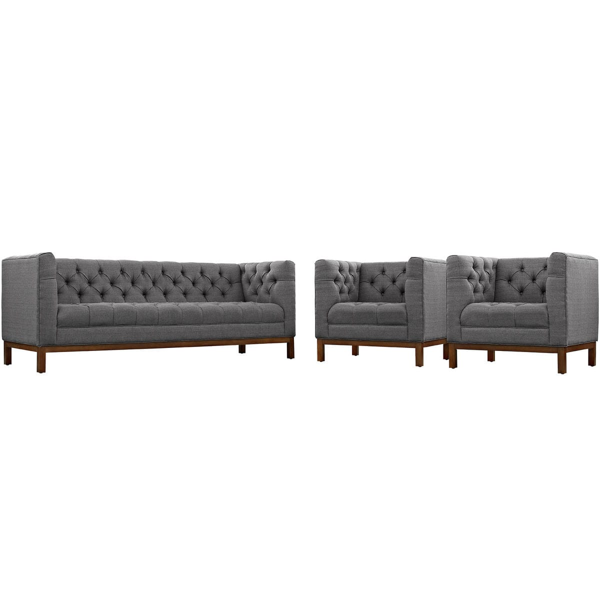 Panache Living Room Set Upholstered Fabric Set of 3 Gray by Modern ...