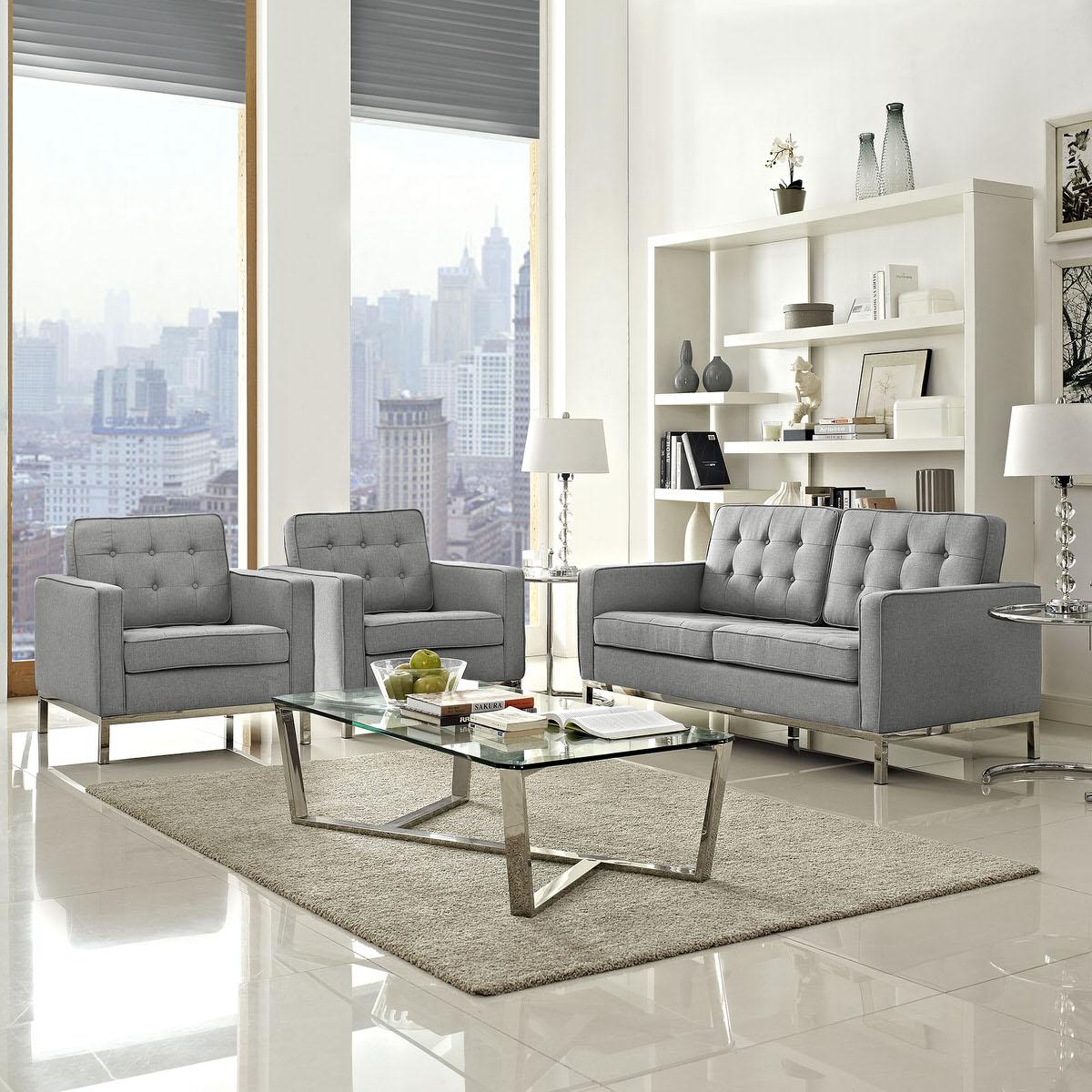 Loft Living Room Set Upholstered Fabric Set of 3 Light Gray by ...