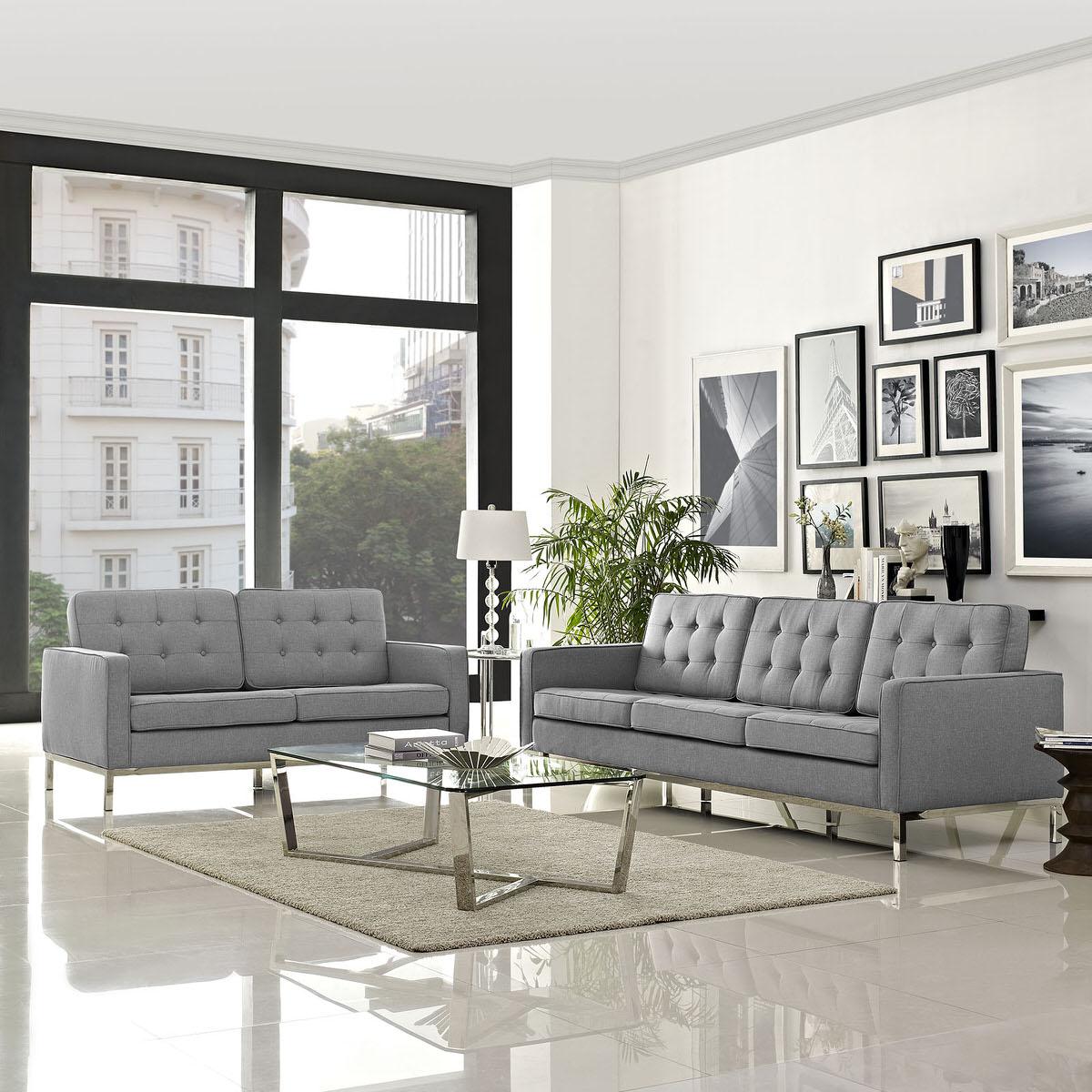 Loft Living Room Set Upholstered Fabric Set Of 2 Light Gray