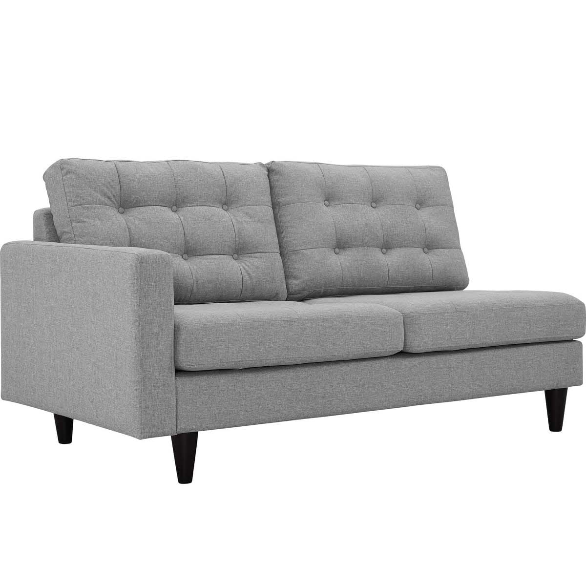 Fabulous Empress Left Facing Upholstered Fabric Loveseat Light Gray Gmtry Best Dining Table And Chair Ideas Images Gmtryco