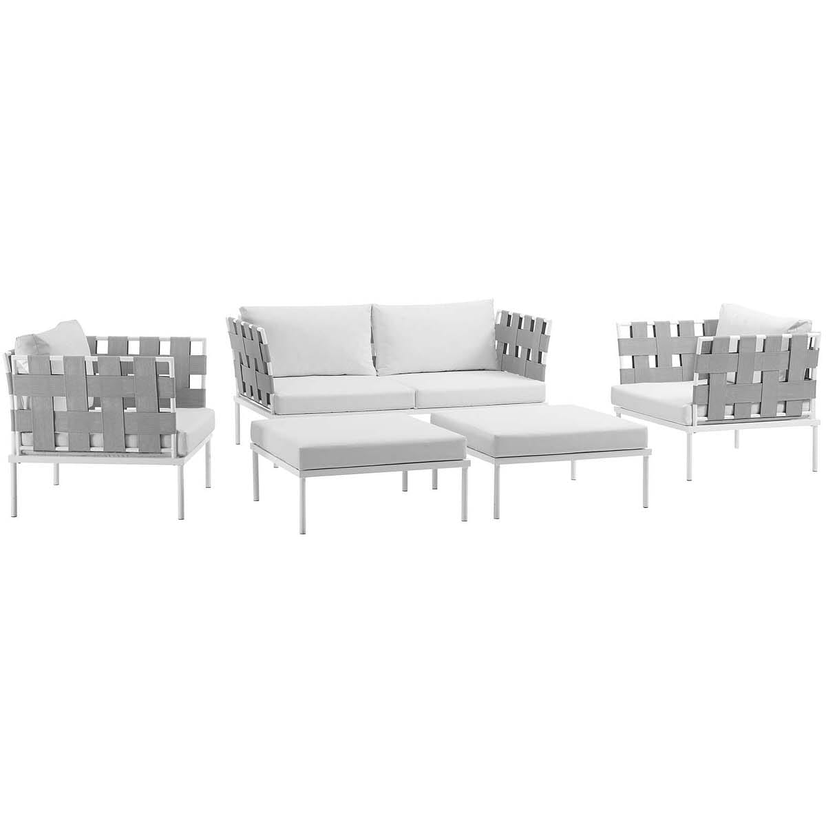 Harmony 5 Piece Outdoor Patio Aluminum Sectional Sofa Set White ...