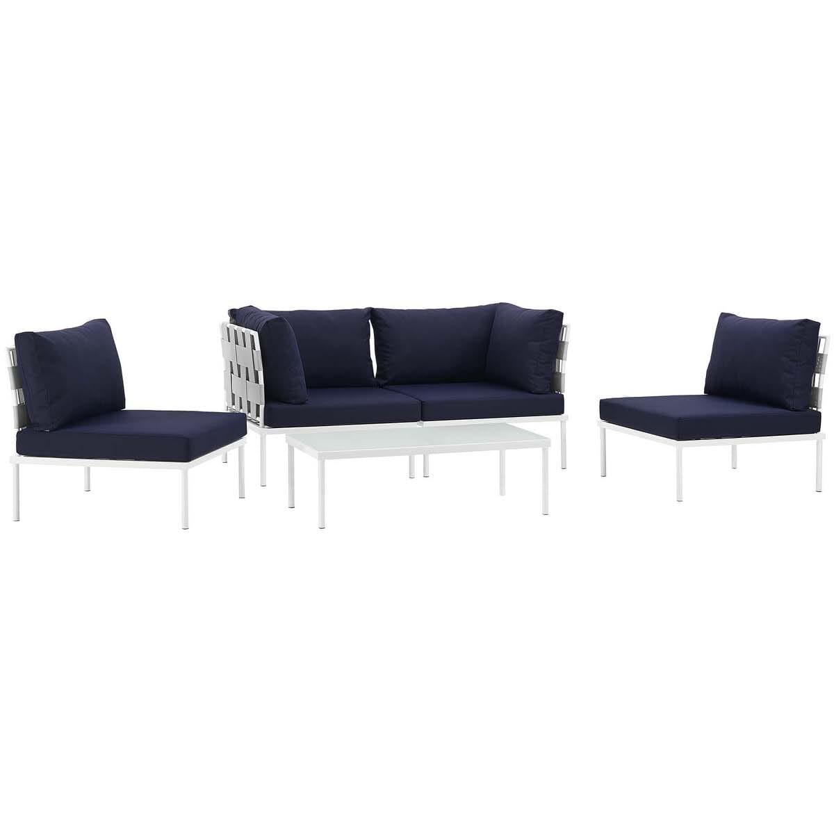 Harmony 5 Piece Outdoor Patio Aluminum Sectional Sofa Set White Navy ...