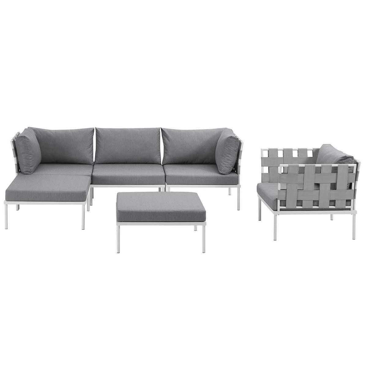 Harmony 6 Piece Outdoor Patio Aluminum Sectional Sofa Set White Gray ...