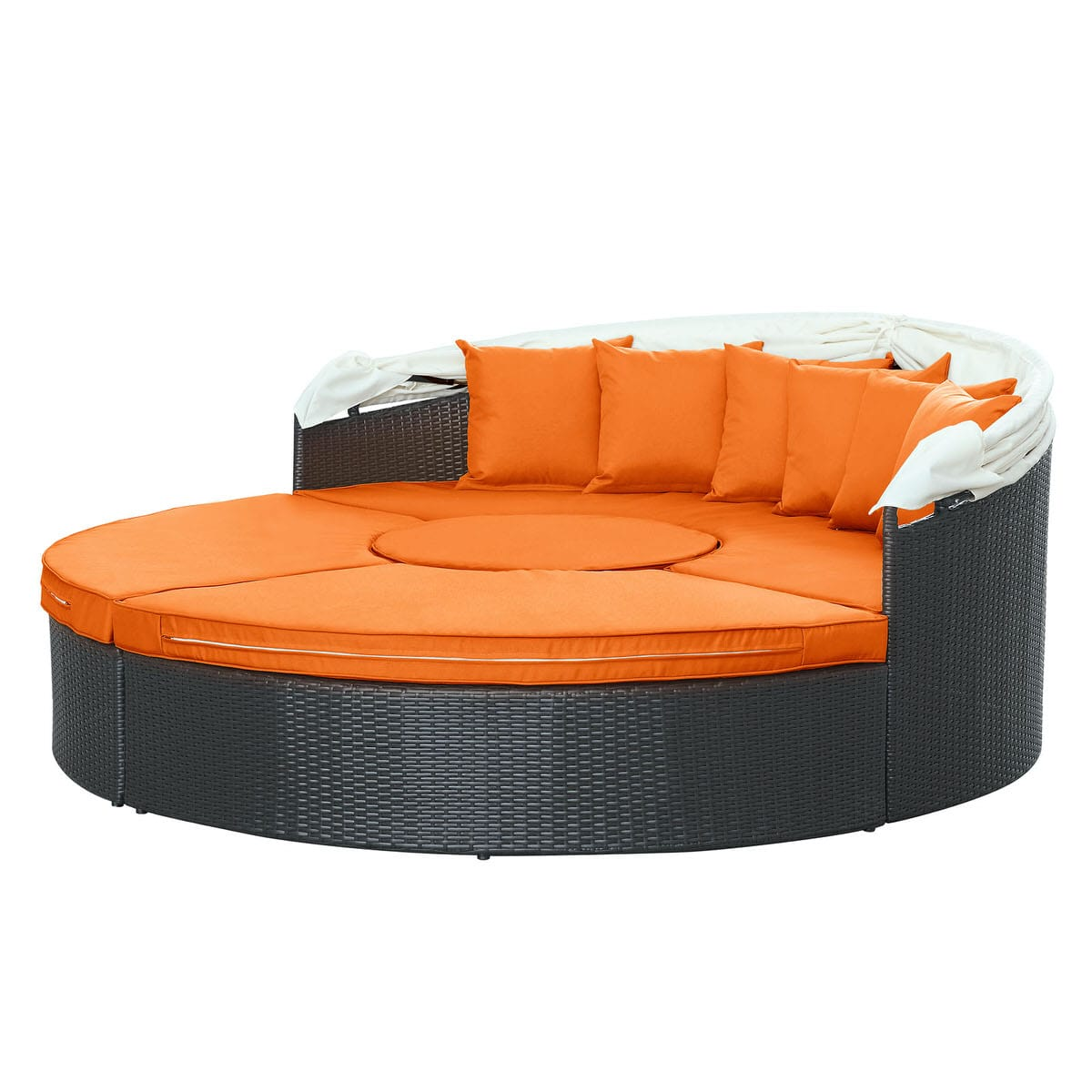 Quest canopy outdoor patio daybed espresso orange by modern living modern living