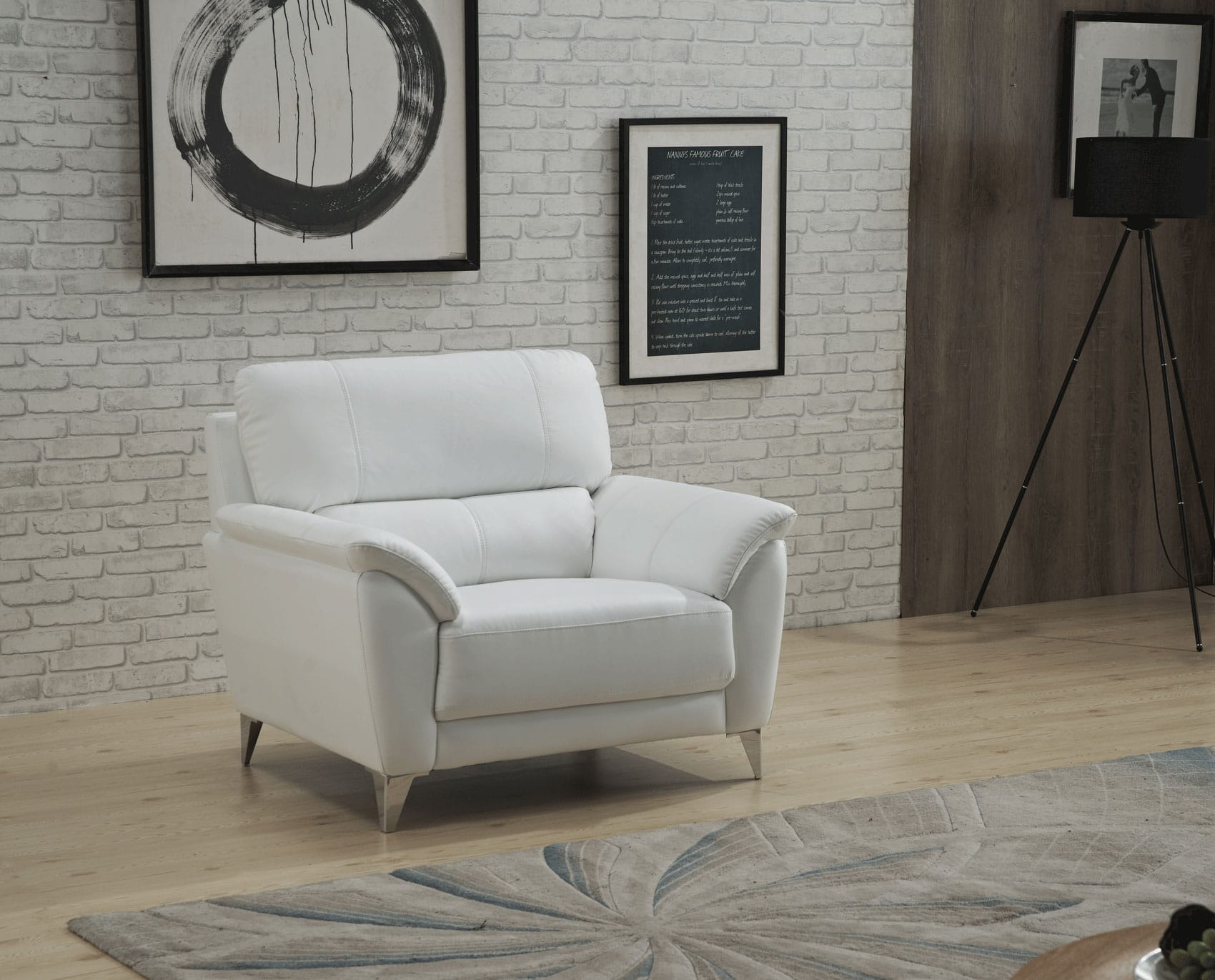 406 White Leather Chair by ESF