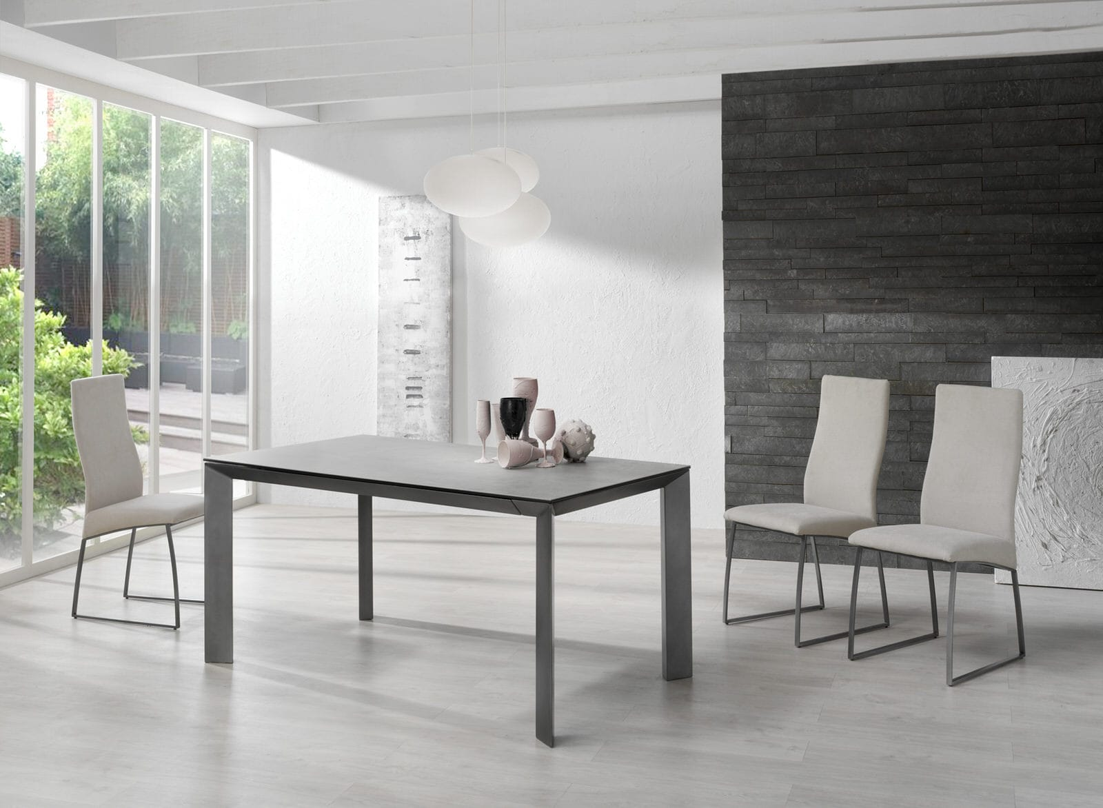 Seven Gray Wood Dining Table W Extension By Esf