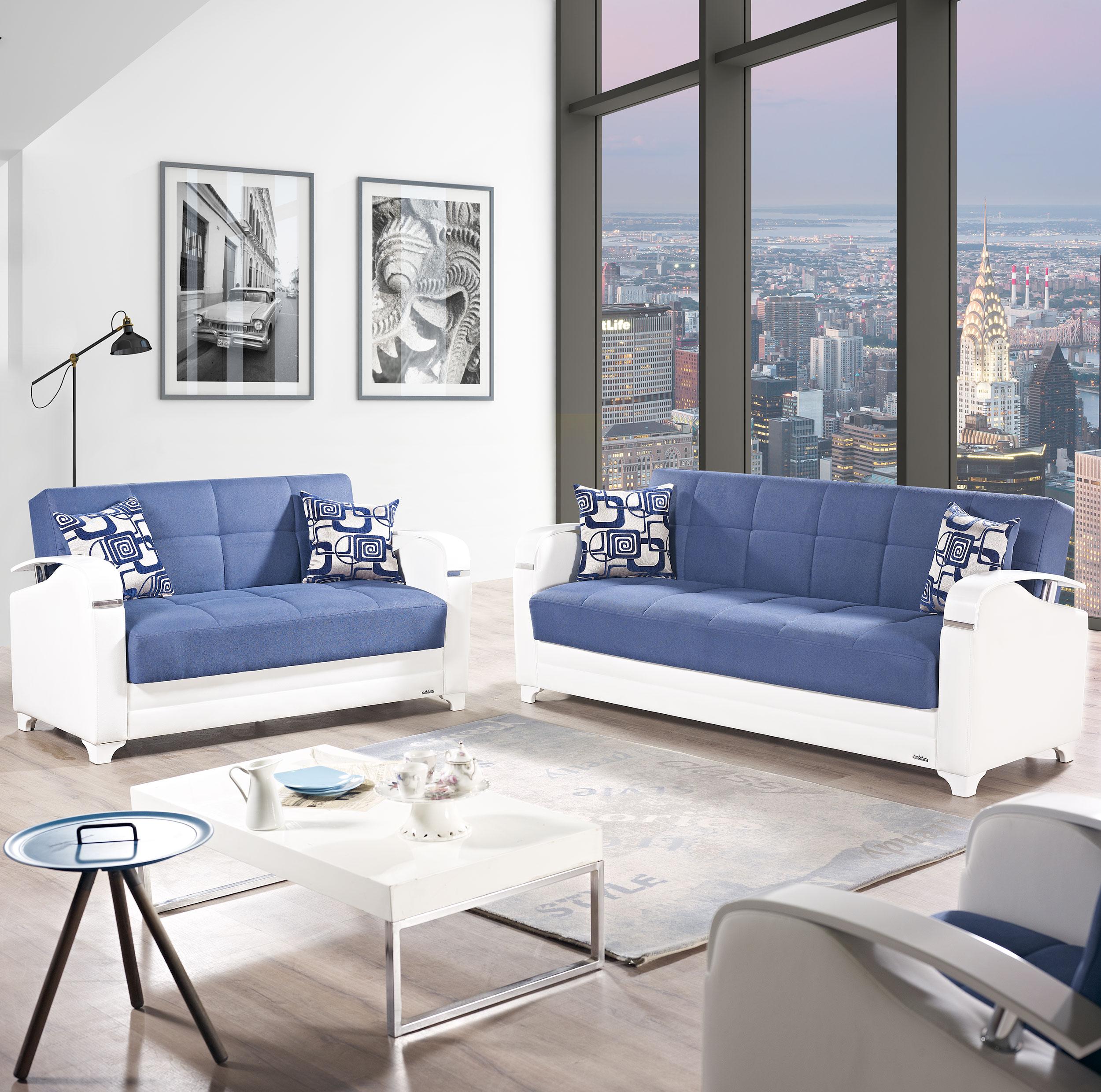 Etro Vintage Navy Blue Fabric Sofa Bed By Mobista (Mobista)