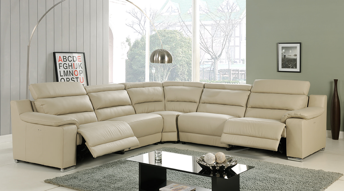 Elda Beige Italian Leather Sectional Sofa By At Home Usa