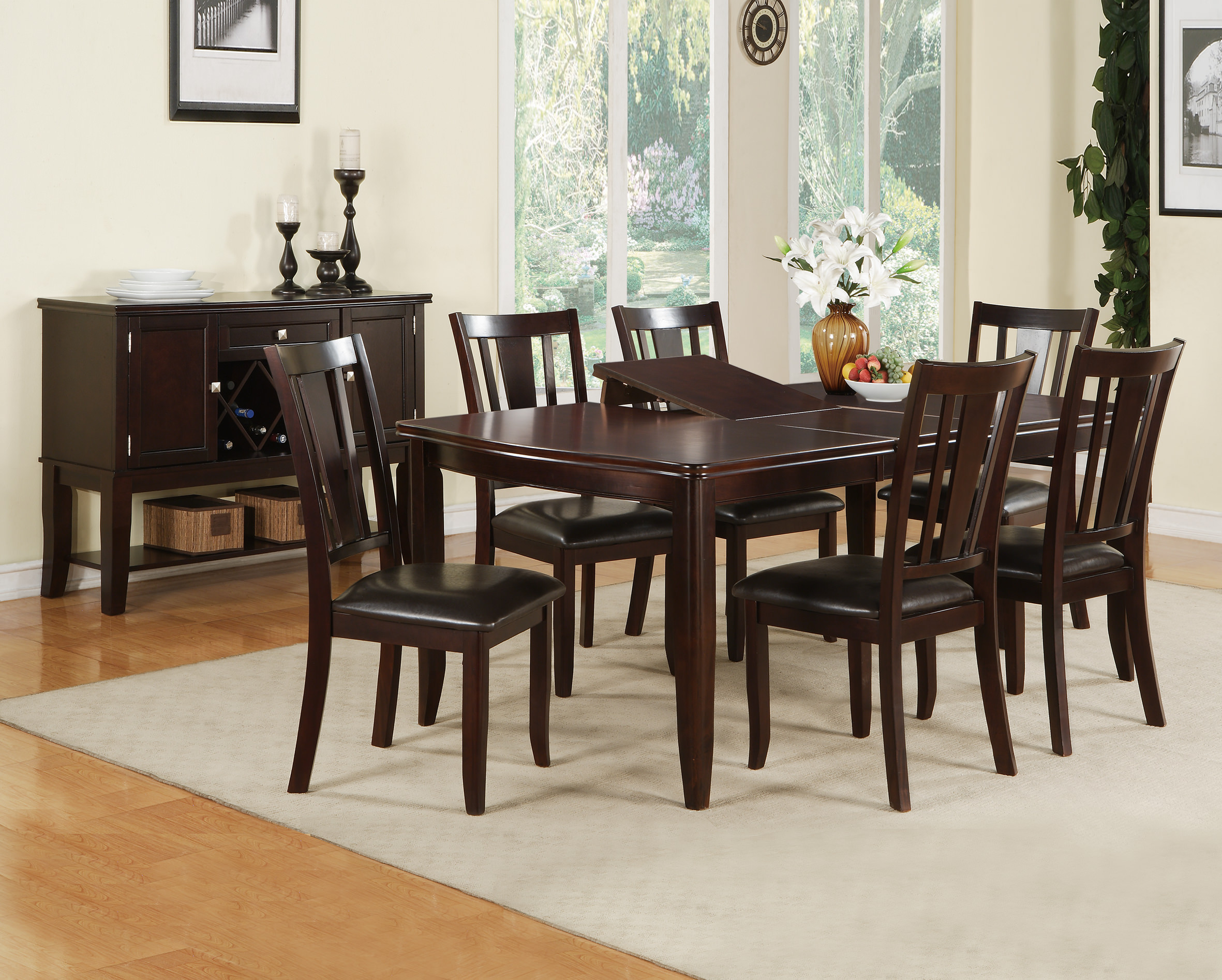 Superbe F2179/F1285 Dark Rosy Espresso 7 Pcs Dining Set By Poundex (Poundex  Associates Corporation