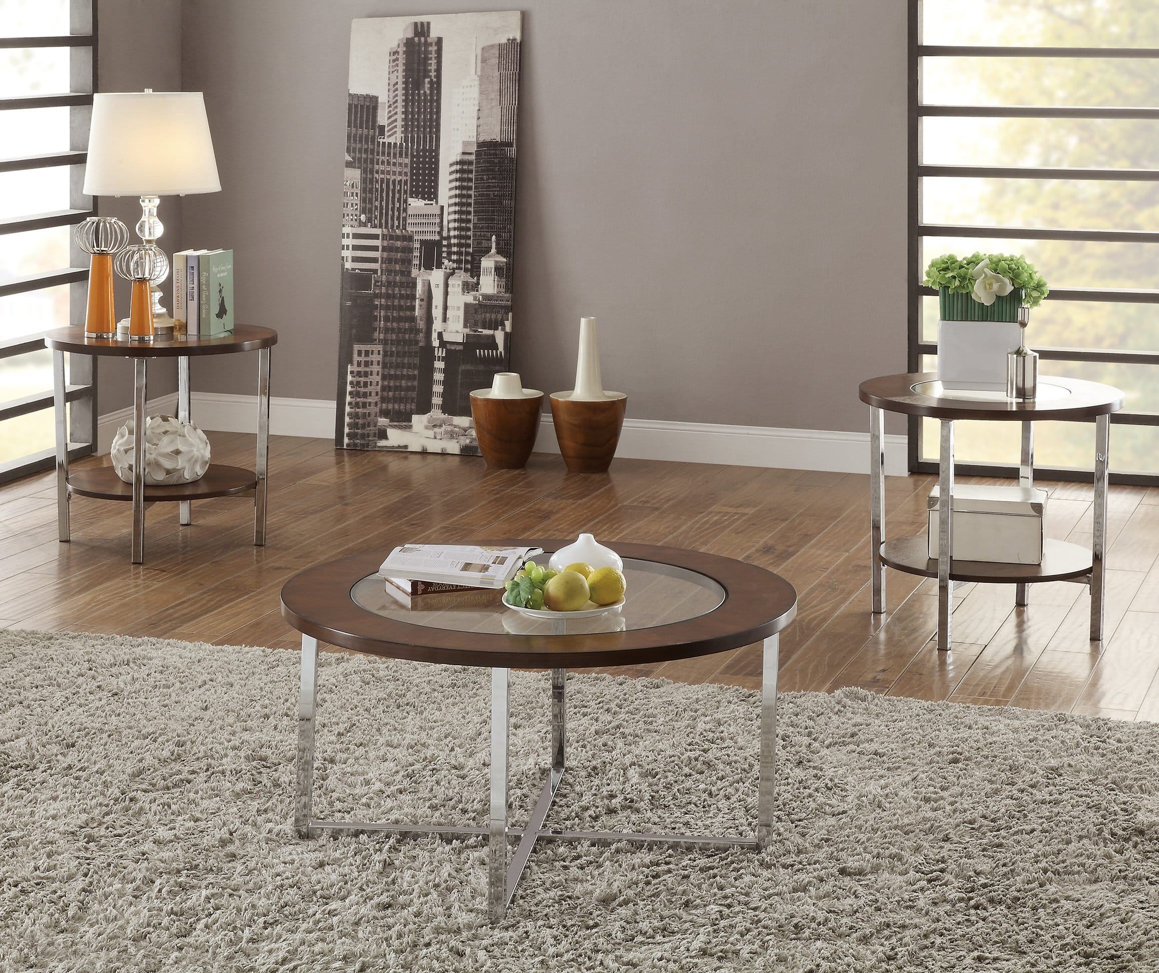 Poundex Coffee Table.F3113 3 Pcs Table Set By Poundex