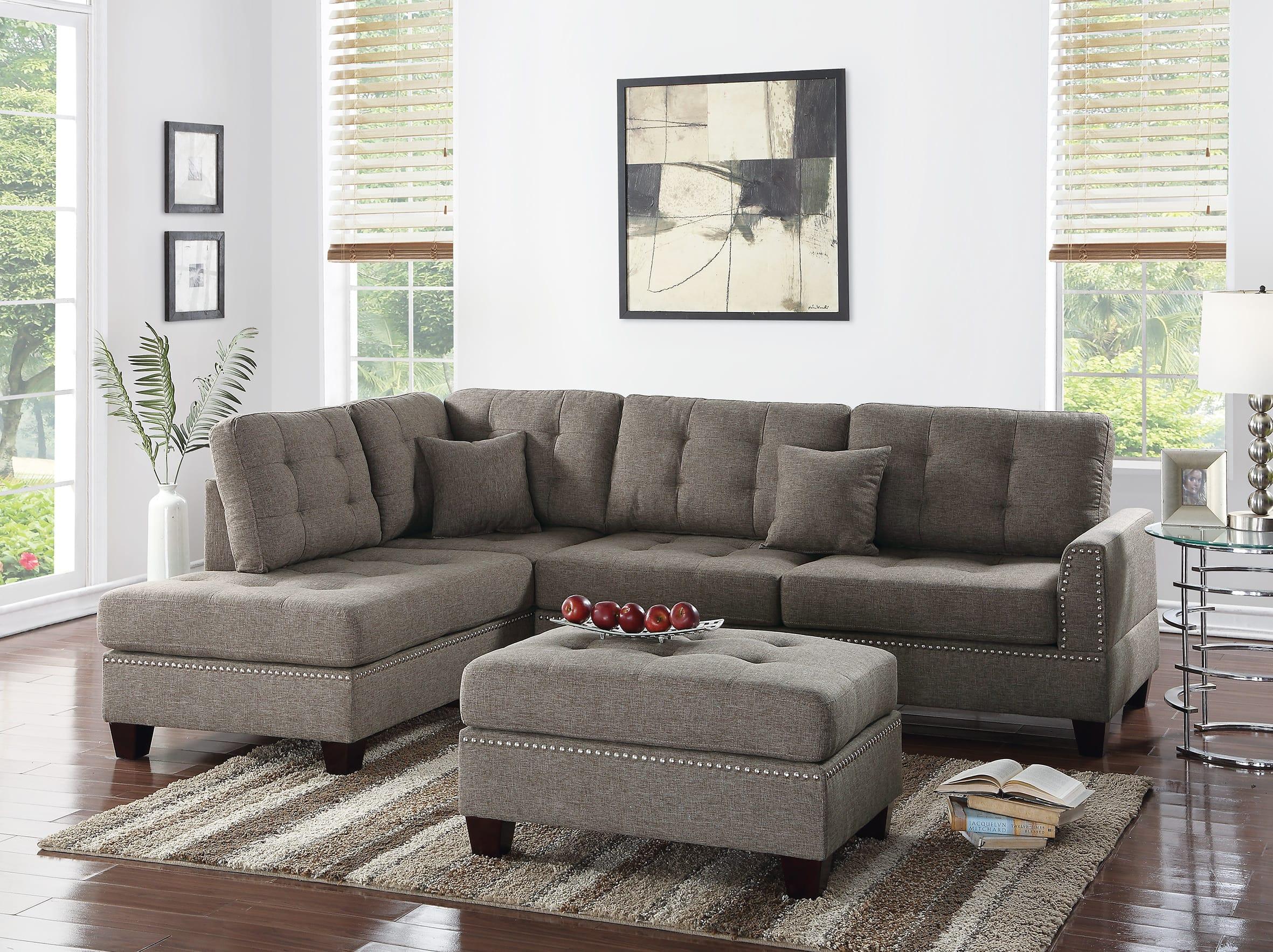 F6504 Coffee 3 Pcs Sectional Sofa Set By Poundex