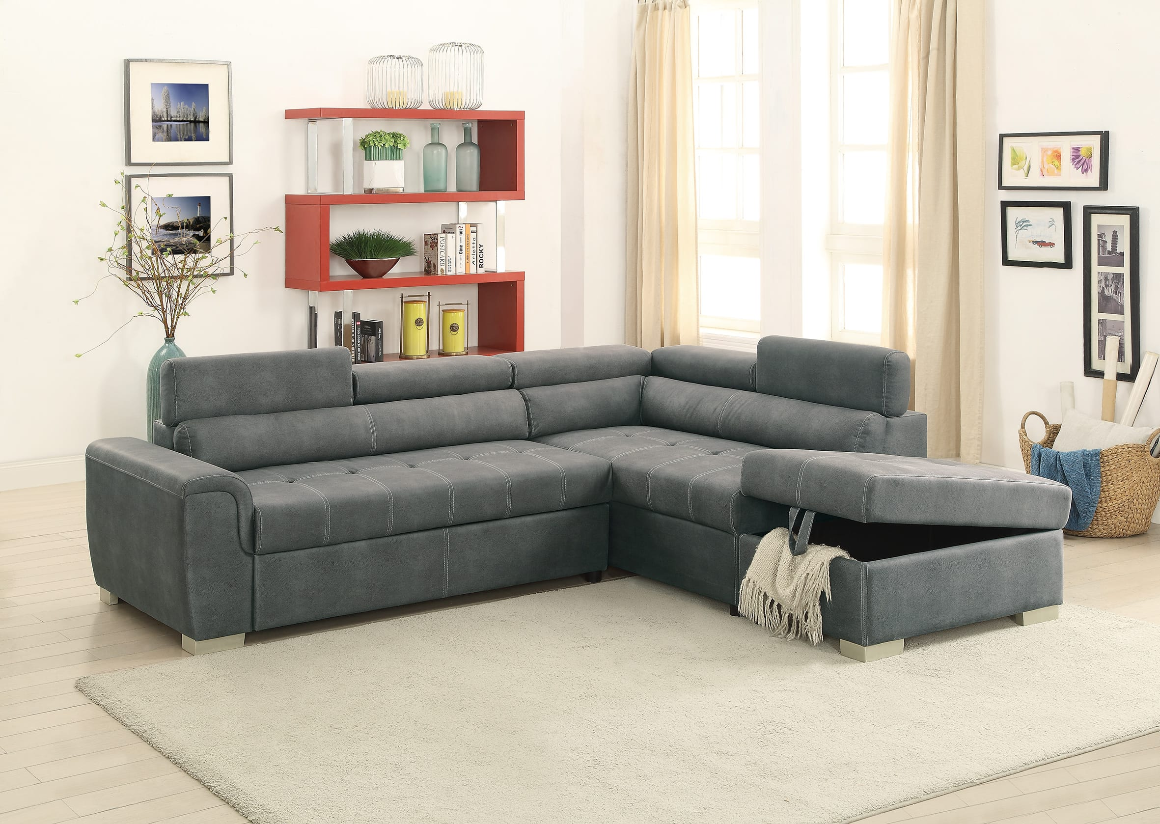 F6550 Slate Gray Convertible Sectional Sofa Set by Poundex