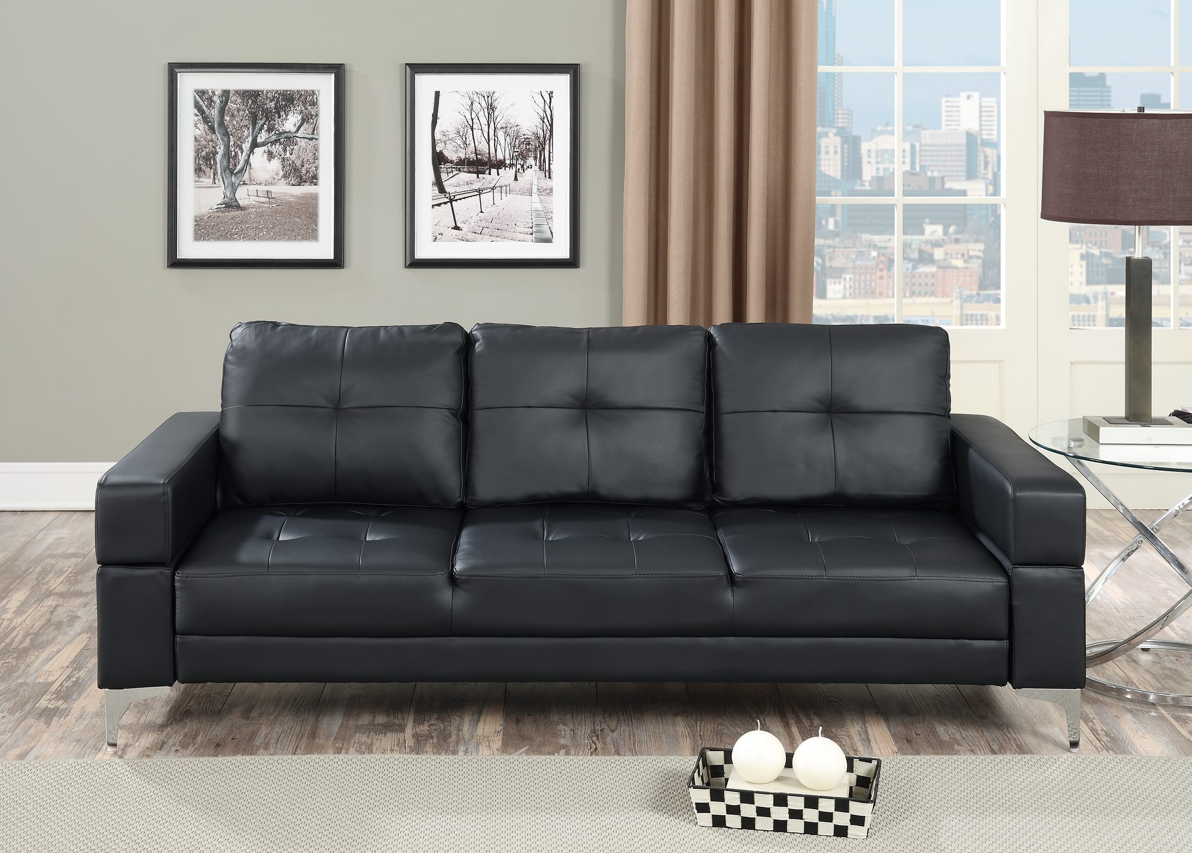 f6830 black convertible sofa bed by poundex poundex associates corporation