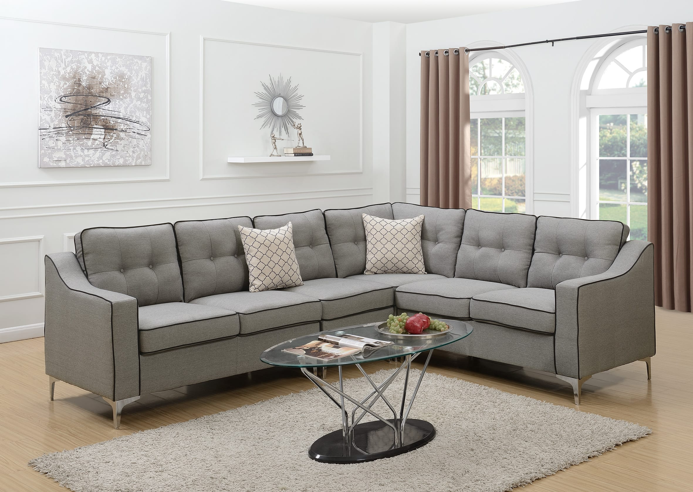 Astounding F6888 Light Gray 4 Pcs Sectional Sofa Set By Poundex Creativecarmelina Interior Chair Design Creativecarmelinacom