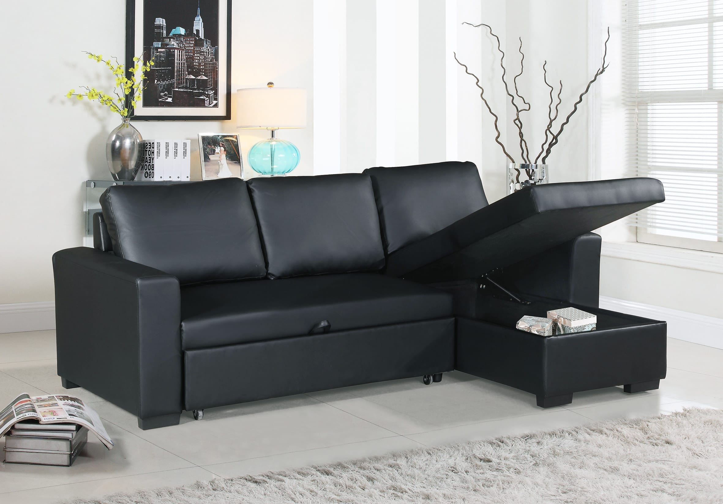 F6890 Black Convertible Sectional Sofa by Poundex