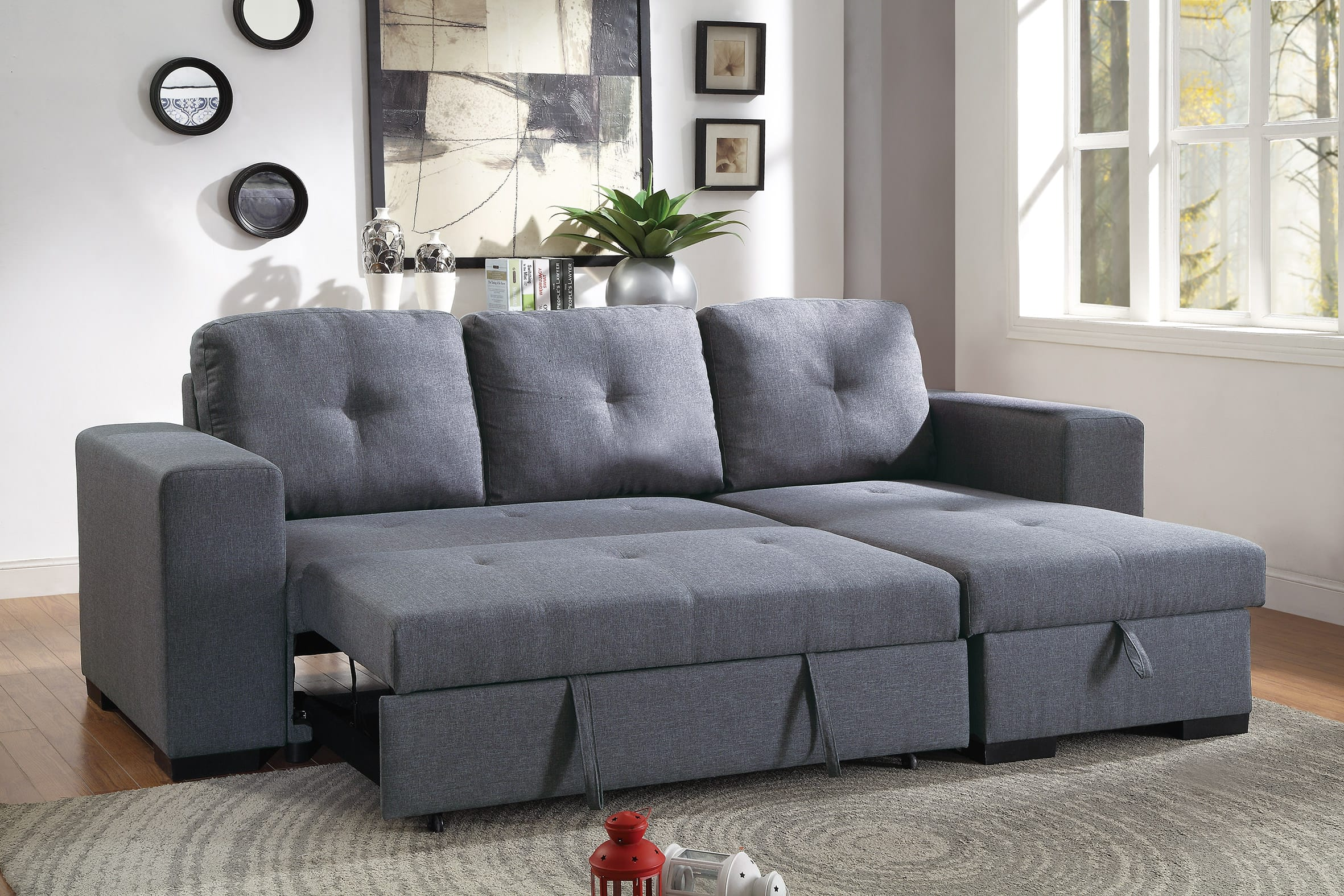 F6910 Blue Gray Convertible Sectional Sofa Set by Poundex