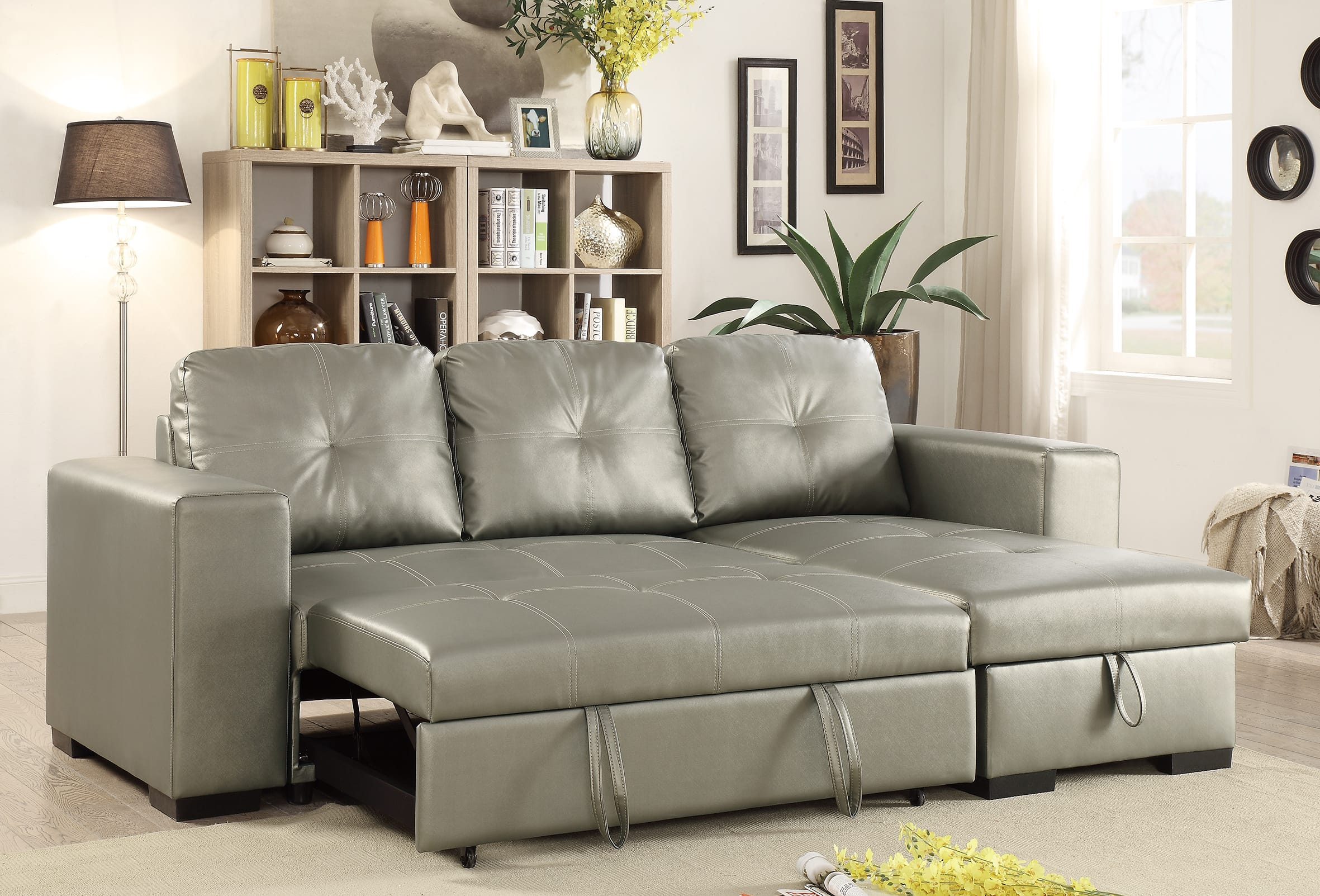 F6919 Silver Convertible Sectional Sofa Set by Poundex