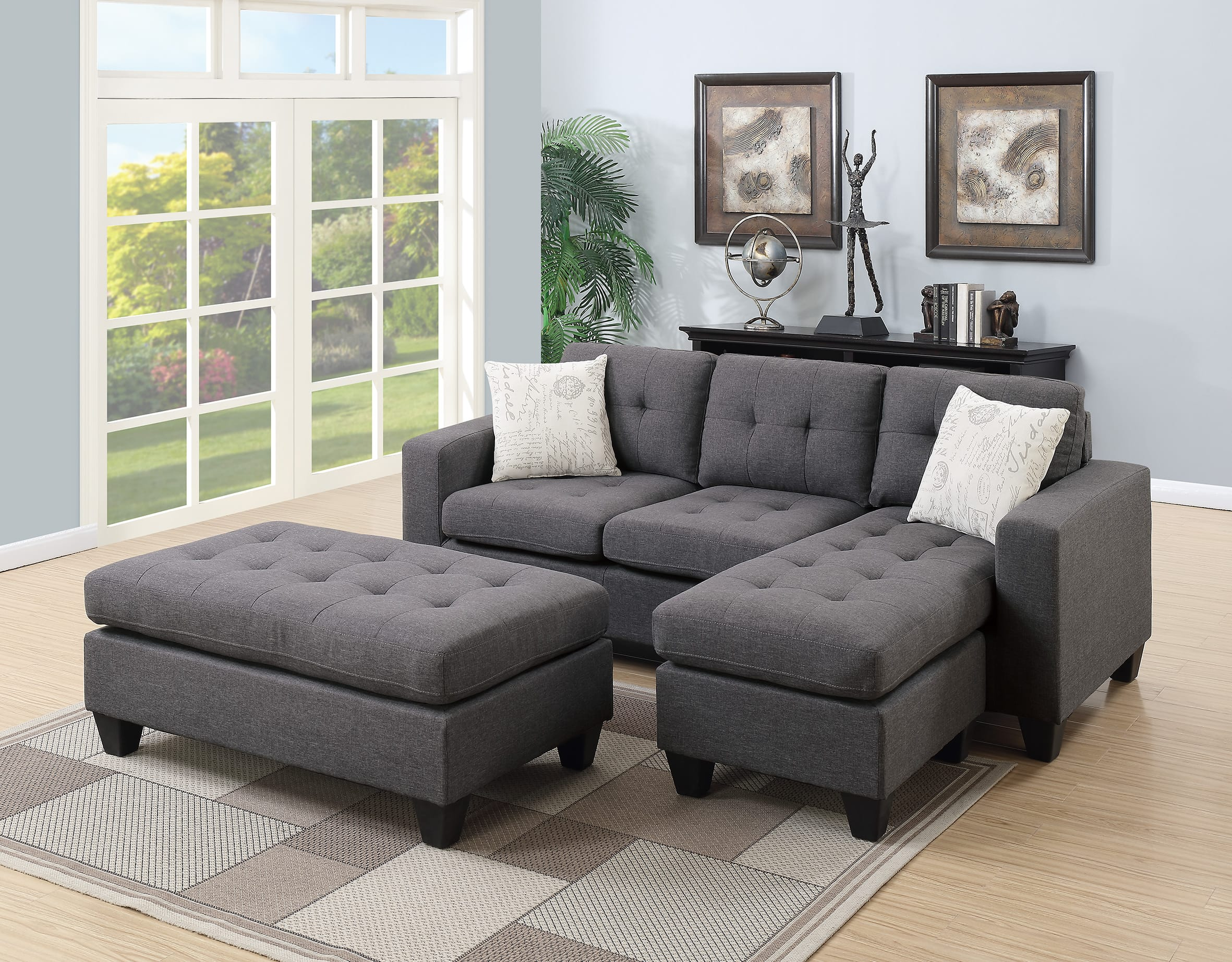 F6920 Blue Gray Sectional Sofa Set By Poundex ~ Blue Gray Sectional Sofa