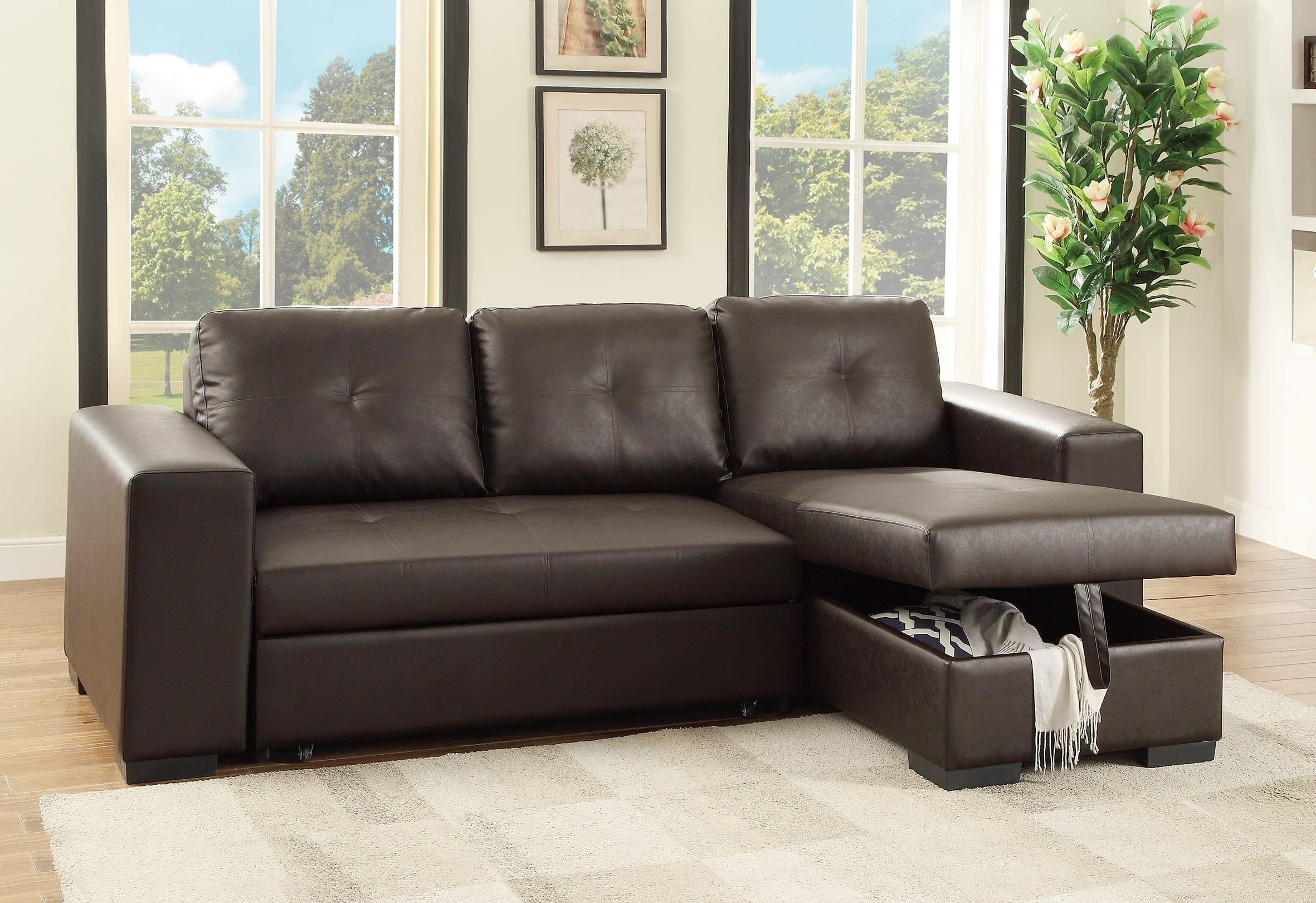 F6930 Espresso Convertible Sectional Sofa By Poundex (Poundex Associates  Corporation)