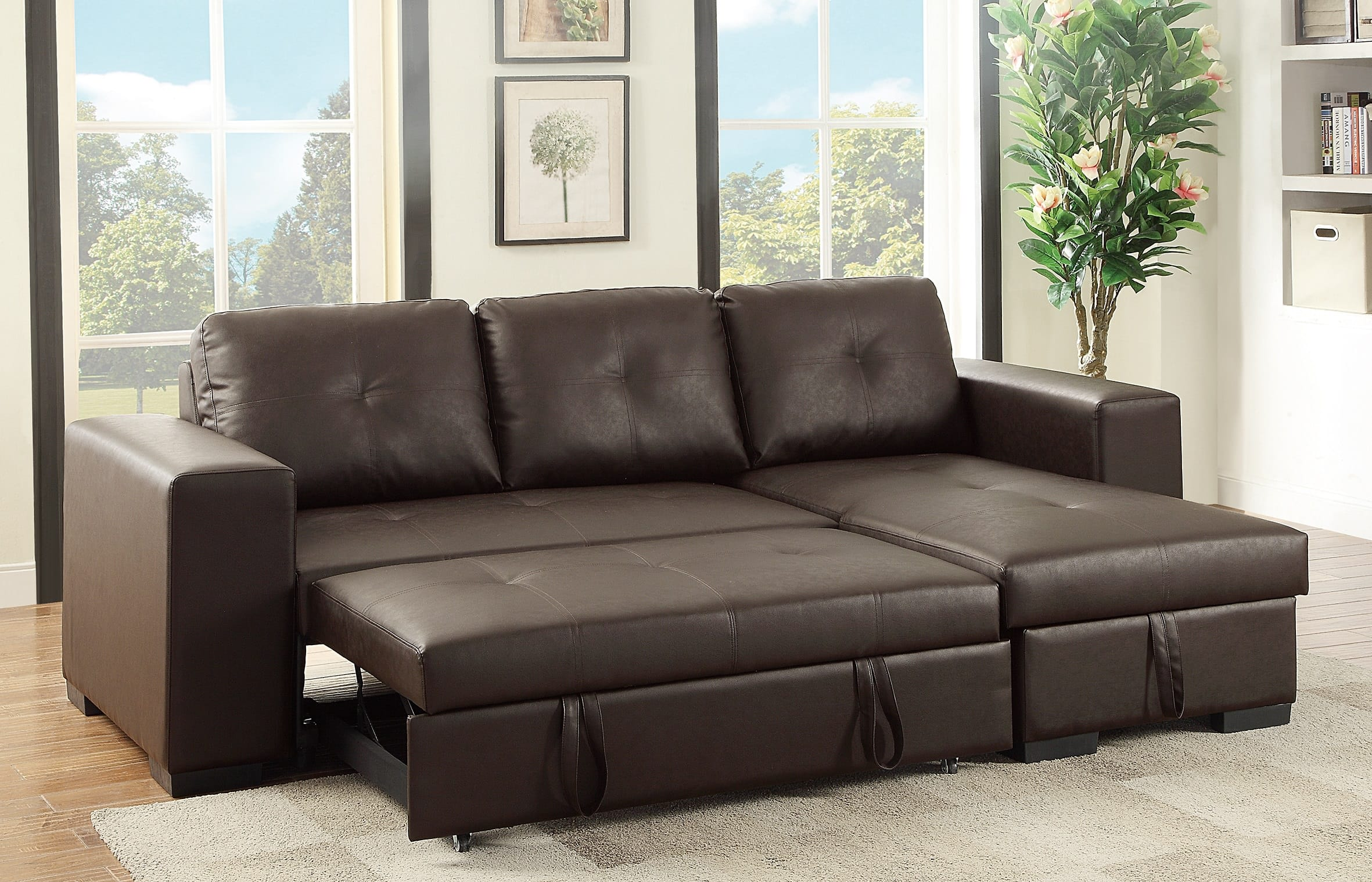 Ordinaire F6930 Espresso Convertible Sectional Sofa By Poundex (Poundex Associates  Corporation)