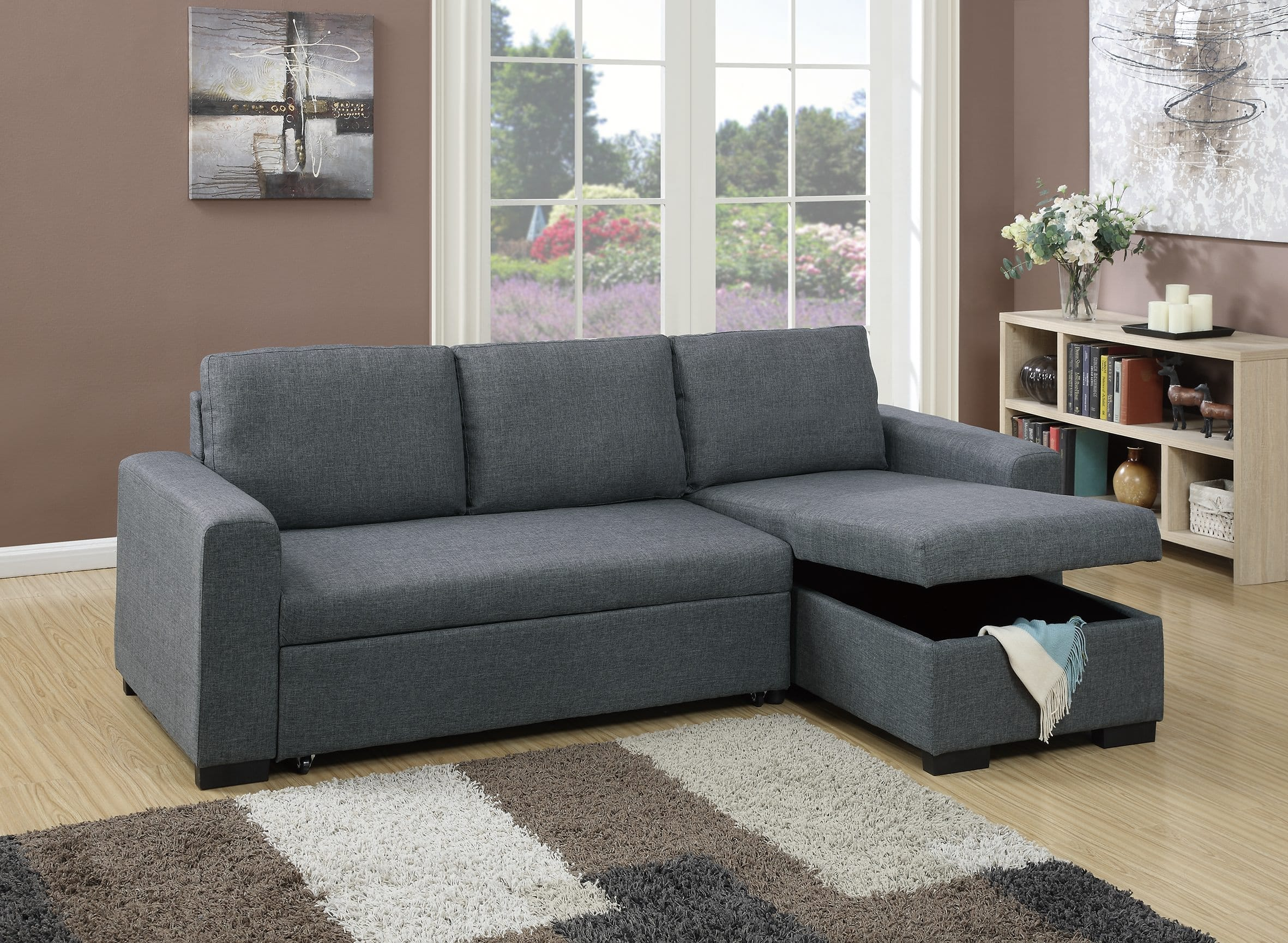 F6931 Blue Gray Convertible Sectional Sofa By Poundex (Poundex Associates  Corporation)
