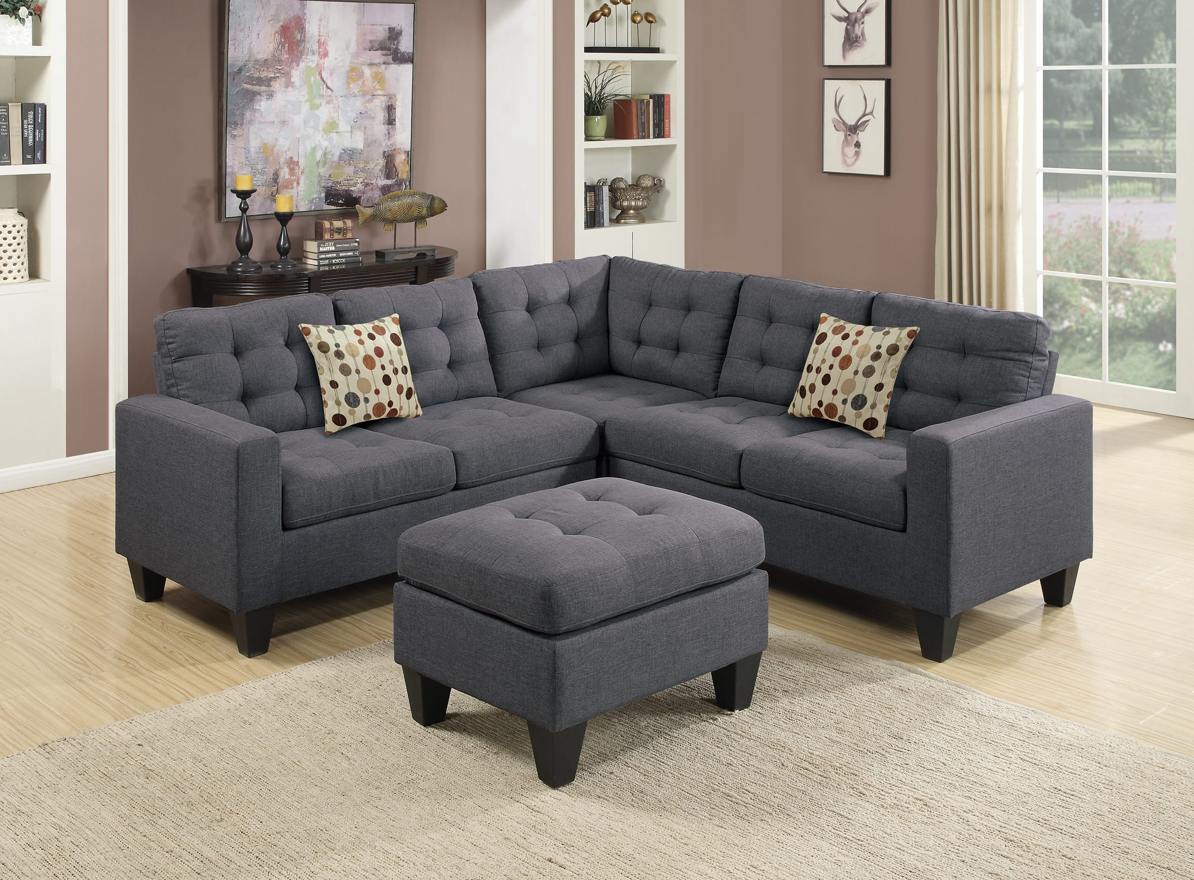 F6935 Blue Gray Sectional Sofa Set By Poundex ~ Blue Gray Sectional Sofa